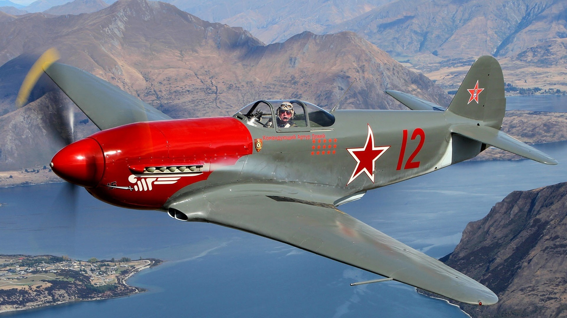 Yakovlev Soviet fighter aircraft World War II military airplane pilot  people men males color contrast flight fly lakes rivers landscapes  mountains wings …