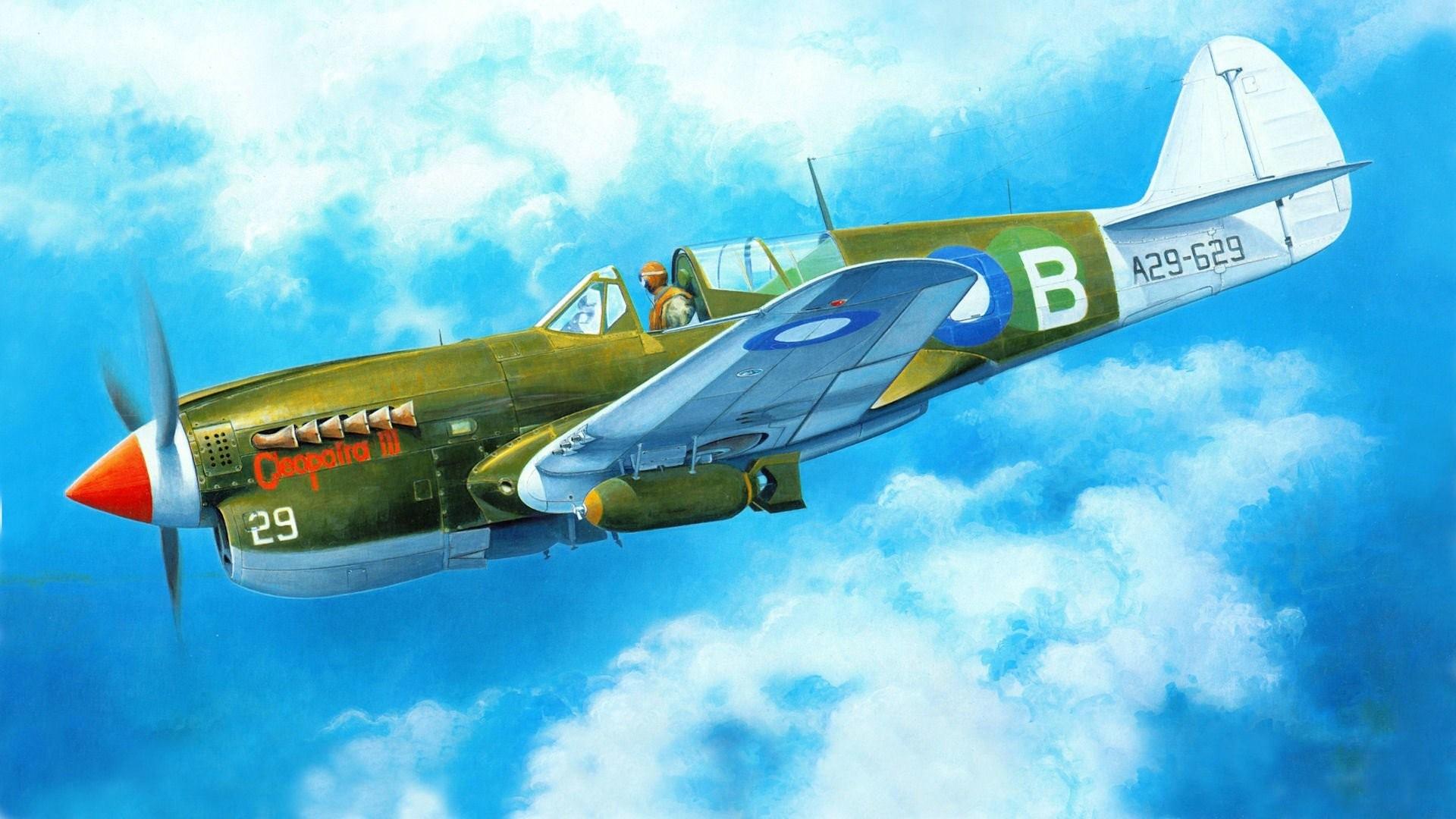 art plane curtiss p-40 warhawk tomahawk kittyhawk american fighter ww2.