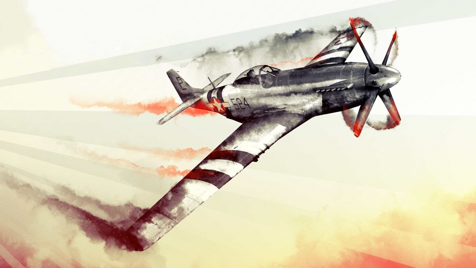 General jet fighter watercolor World War II aircraft Ford Mustang  War Thunder North American P