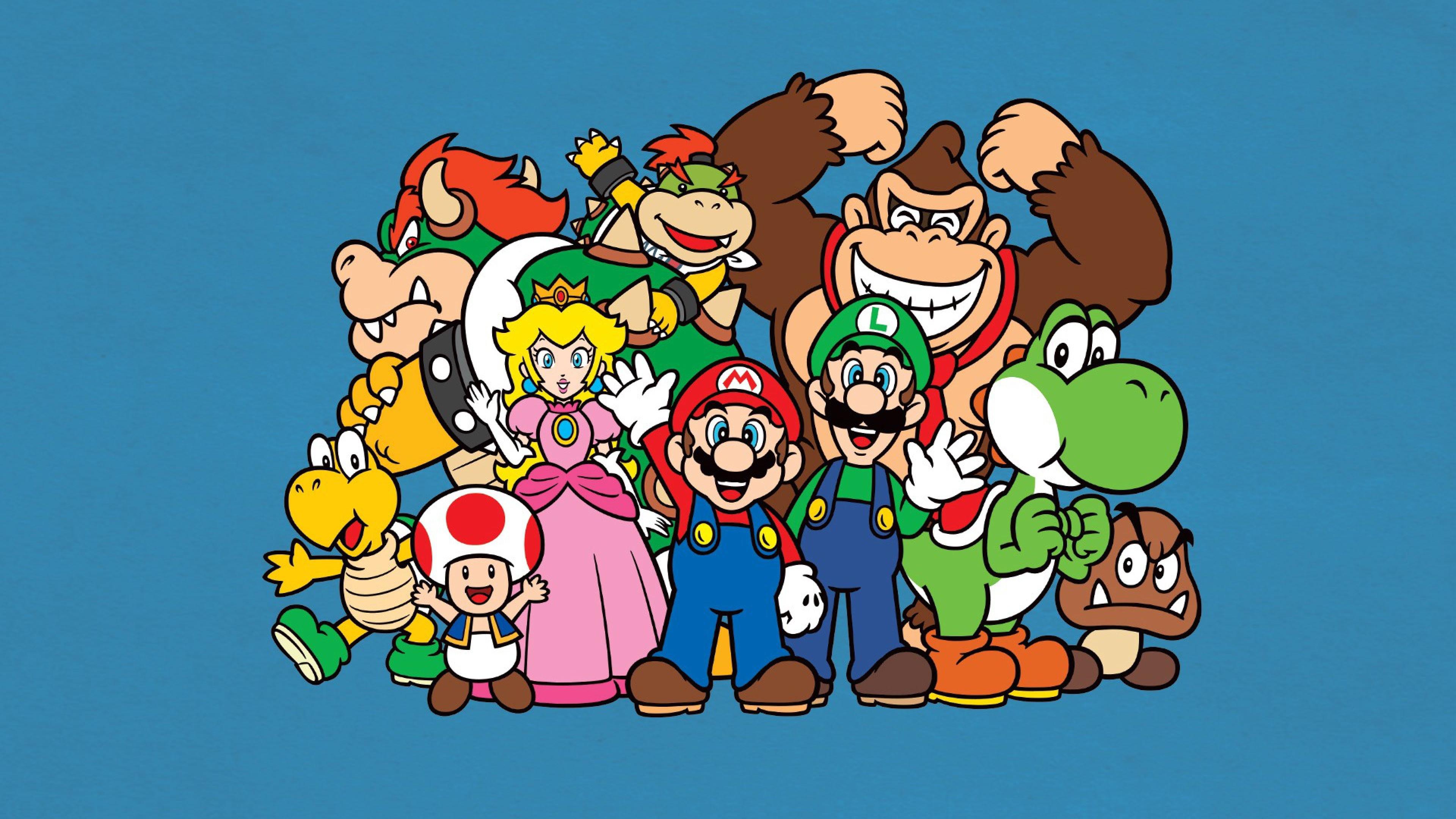 Download Wallpaper Mario bros, Luigi, Yoshi, Princess .
