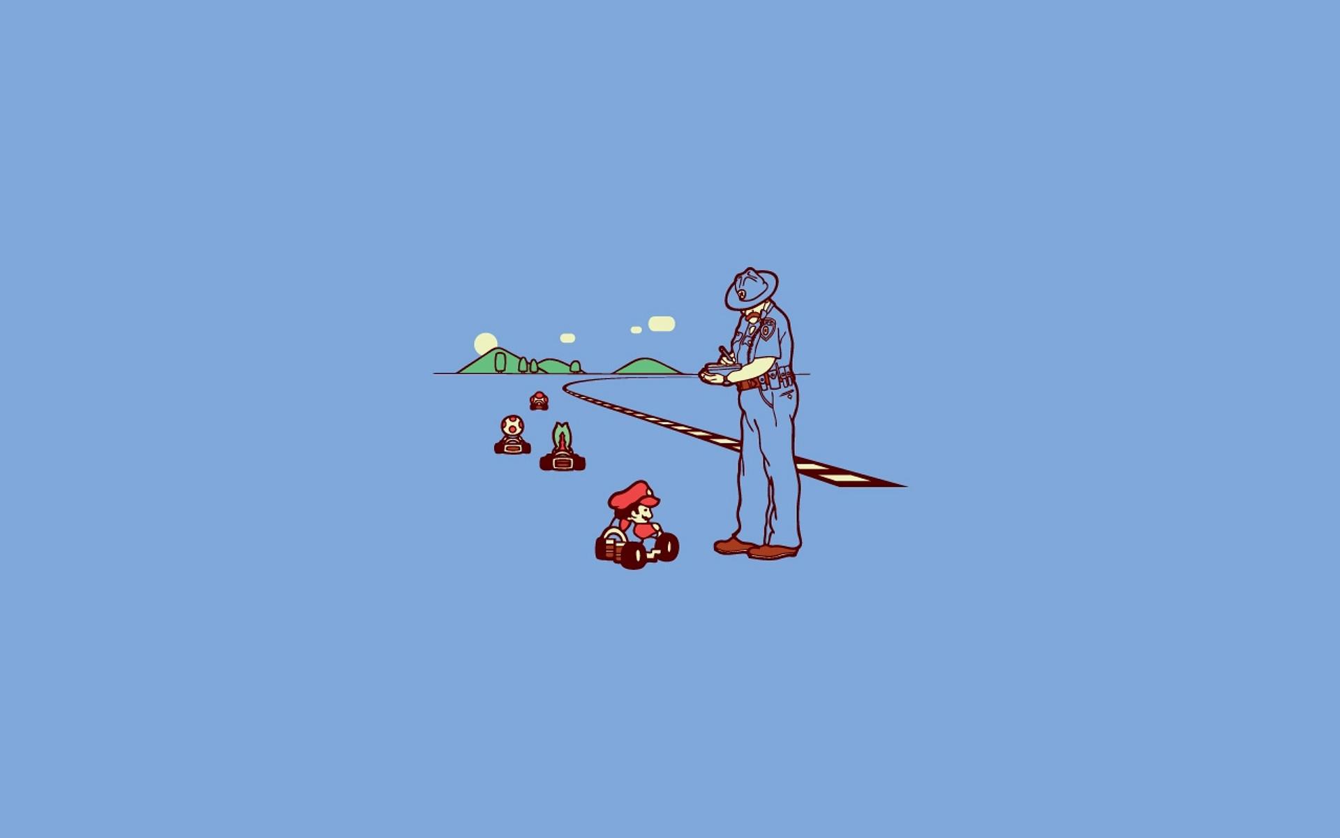 Funny Mario Bros Kart Nintendo Police