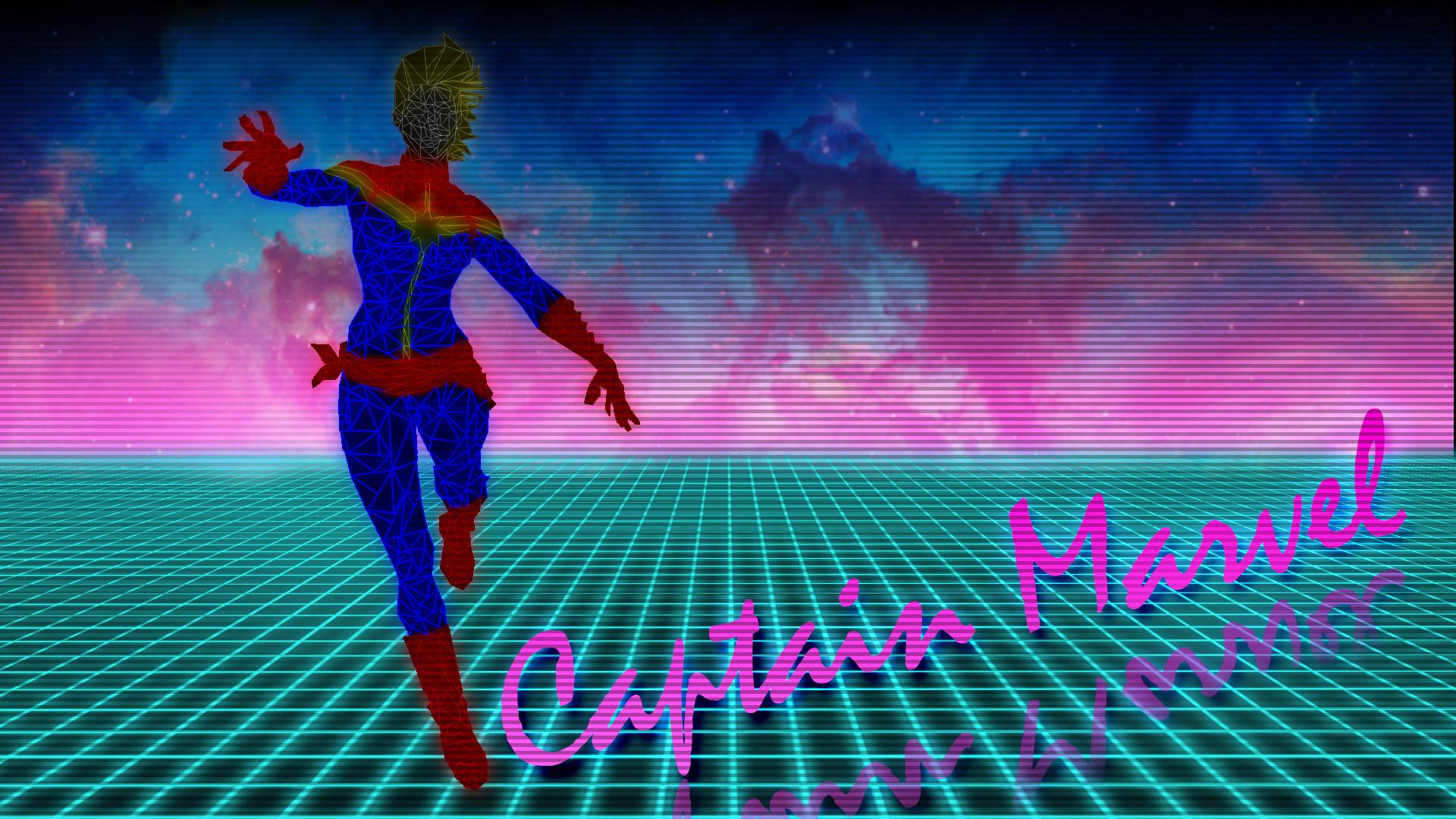 80s Neon Style Captain Marvel Wallpaper …
