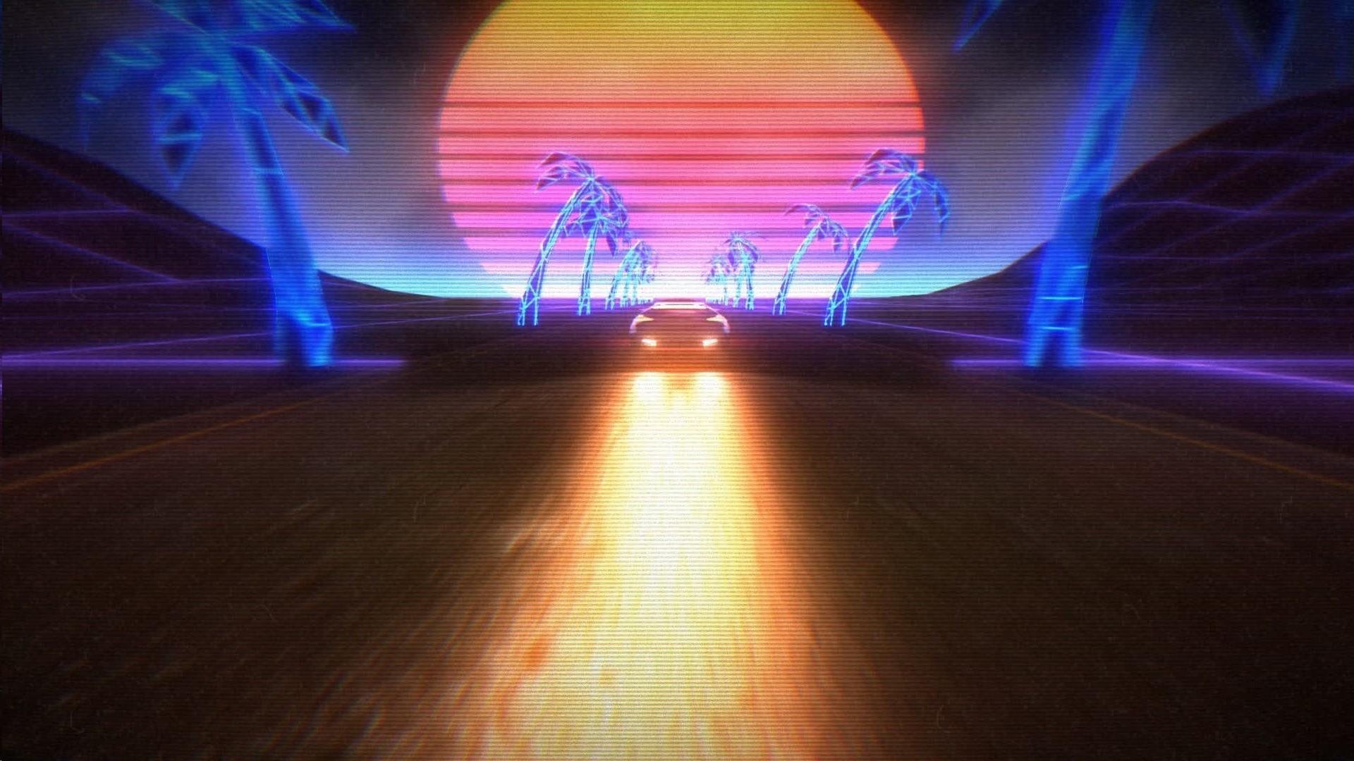 General New Retro Wave synthwave 1980s neon car retro games