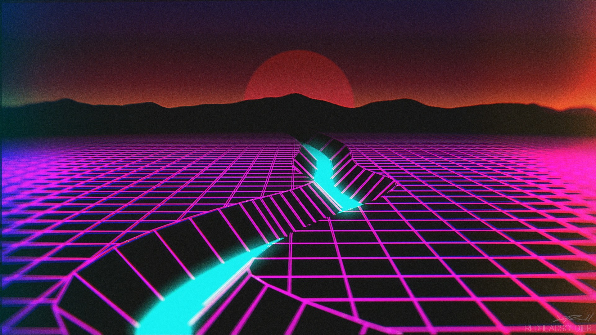 General New Retro Wave neon synthwave wireframe