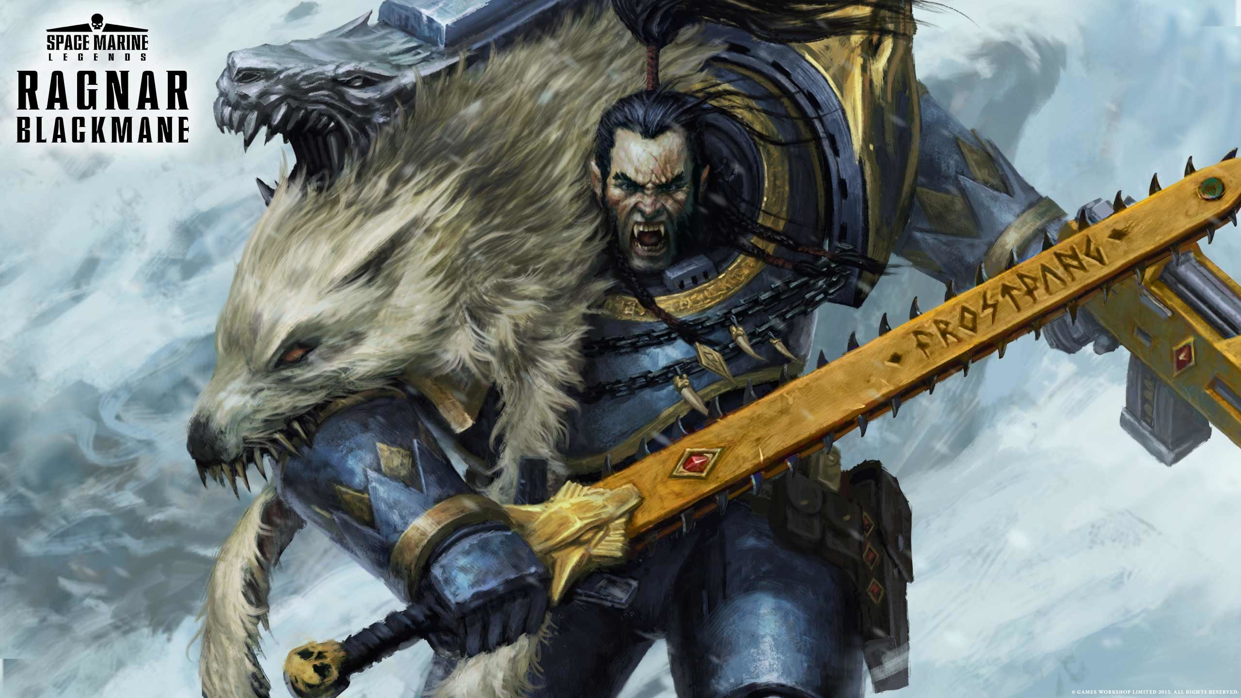 bmacsmith chainsword imperium portrait ragnar ragnar_blackmane  space_marines space_wolves wallpaper Warhammer 40k …