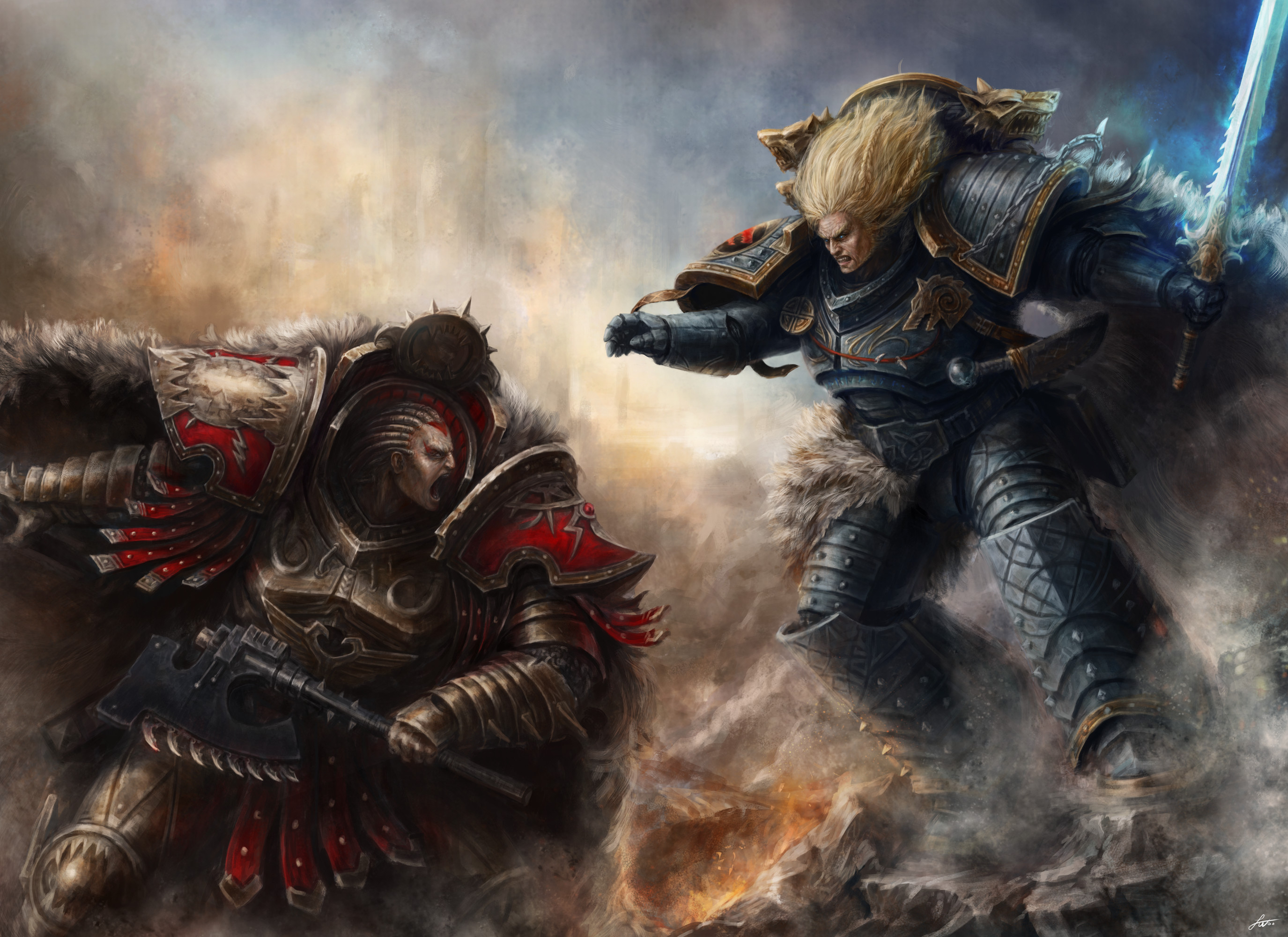 After their parley breaks down, tragically, the World Eaters, led by their  Primarch Angron, fiercely fought against the Wolf King and his Space Wolves  …