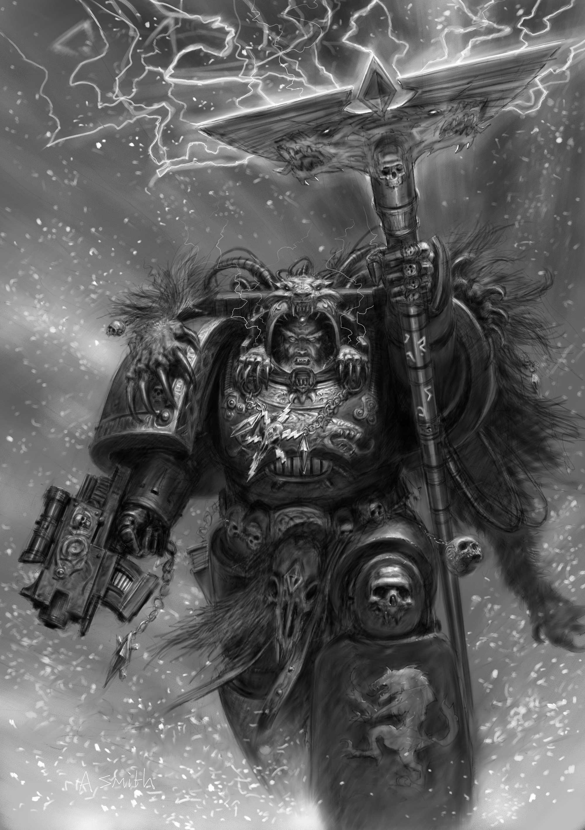 … space marines, concept art, Adrian Smith, Space Wolf – related desktop  wallpaper …
