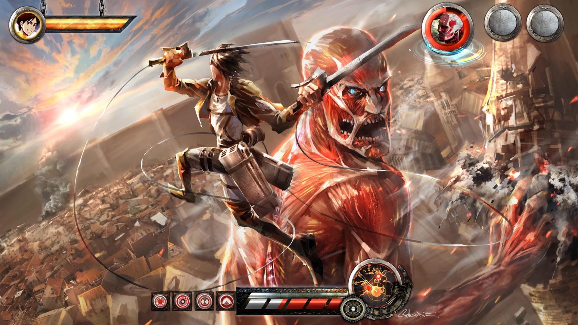 Attack On Titan Iphone Wallpaper 1080p Eren vs colossal titan video