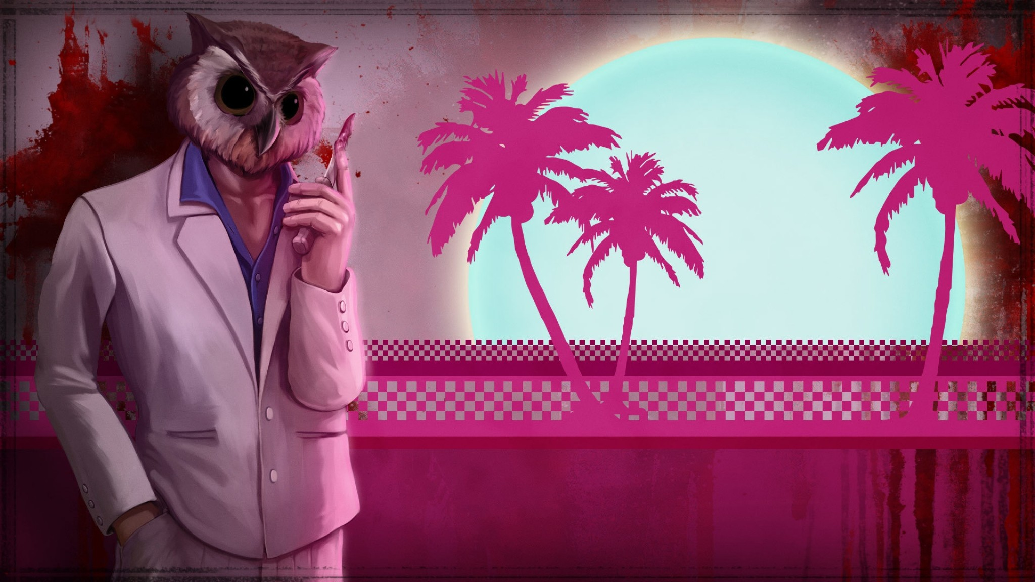 Preview wallpaper hotline miami, owl, art, game 2048×1152
