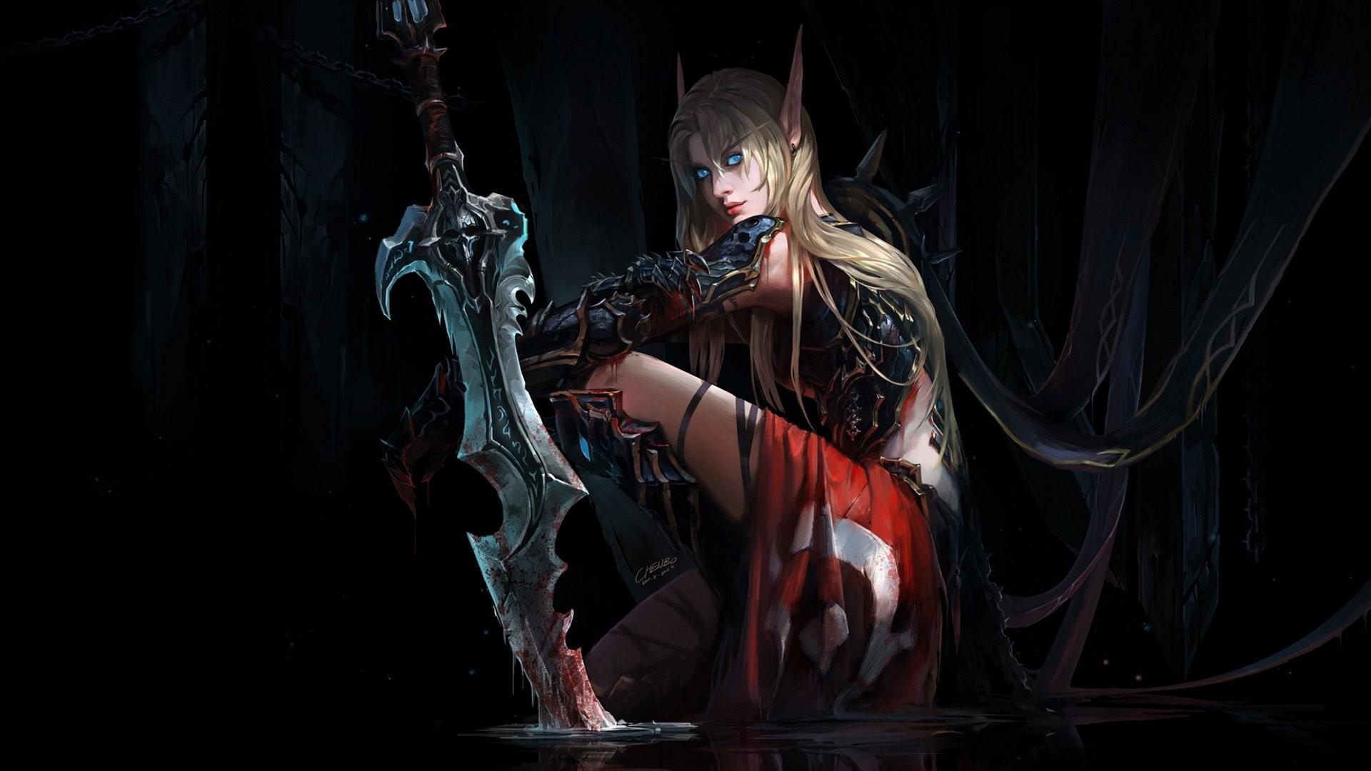 Blizzard WarCraft art drawing fantasy girl elf blood elf blonde blonde hair  blue eyes Death Knight the sword the endless dark eternal darkness art  wallpaper …