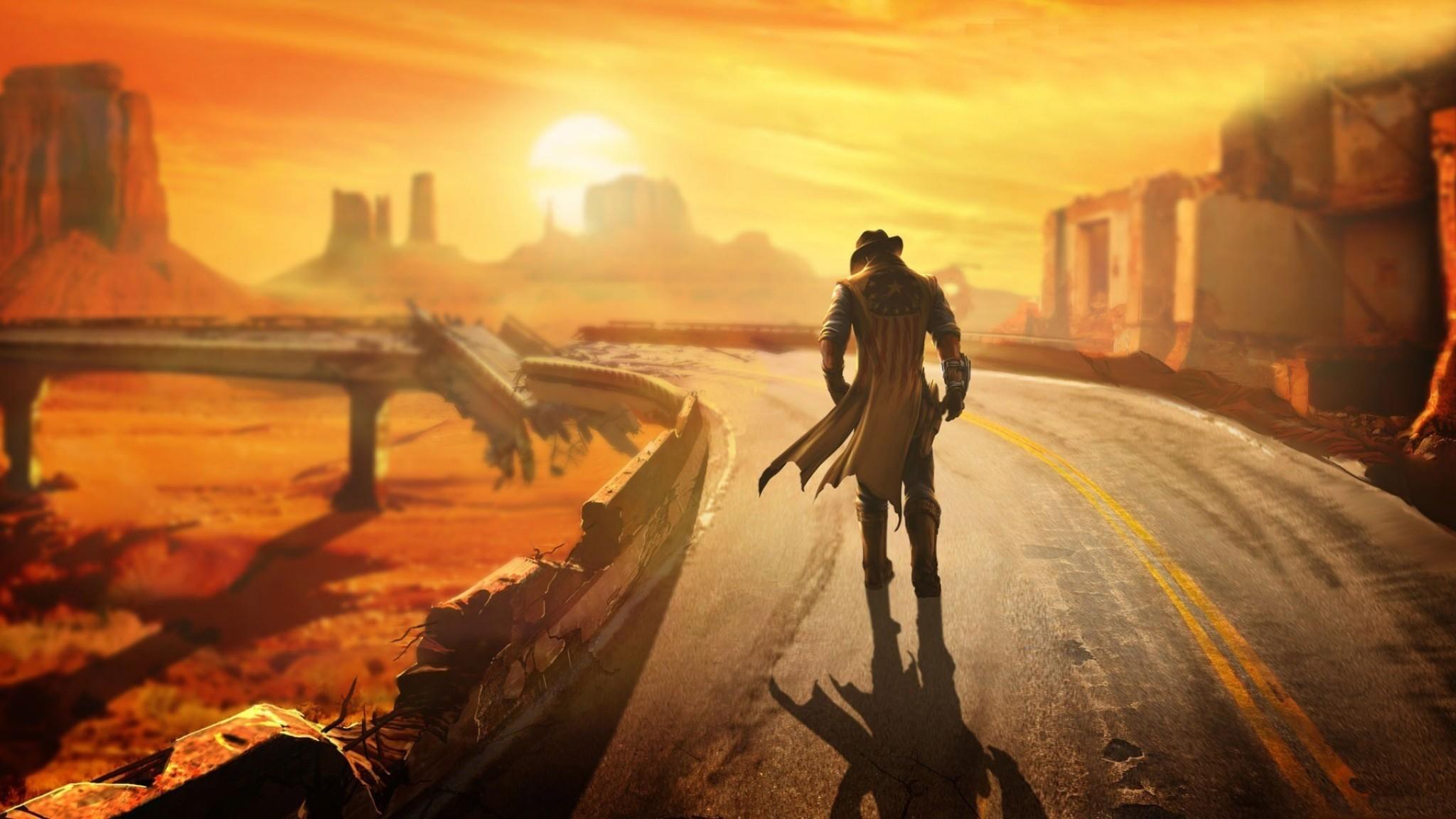 Preview wallpaper fallout, new vegas, wasteland, loner, road, hero 2048×1152