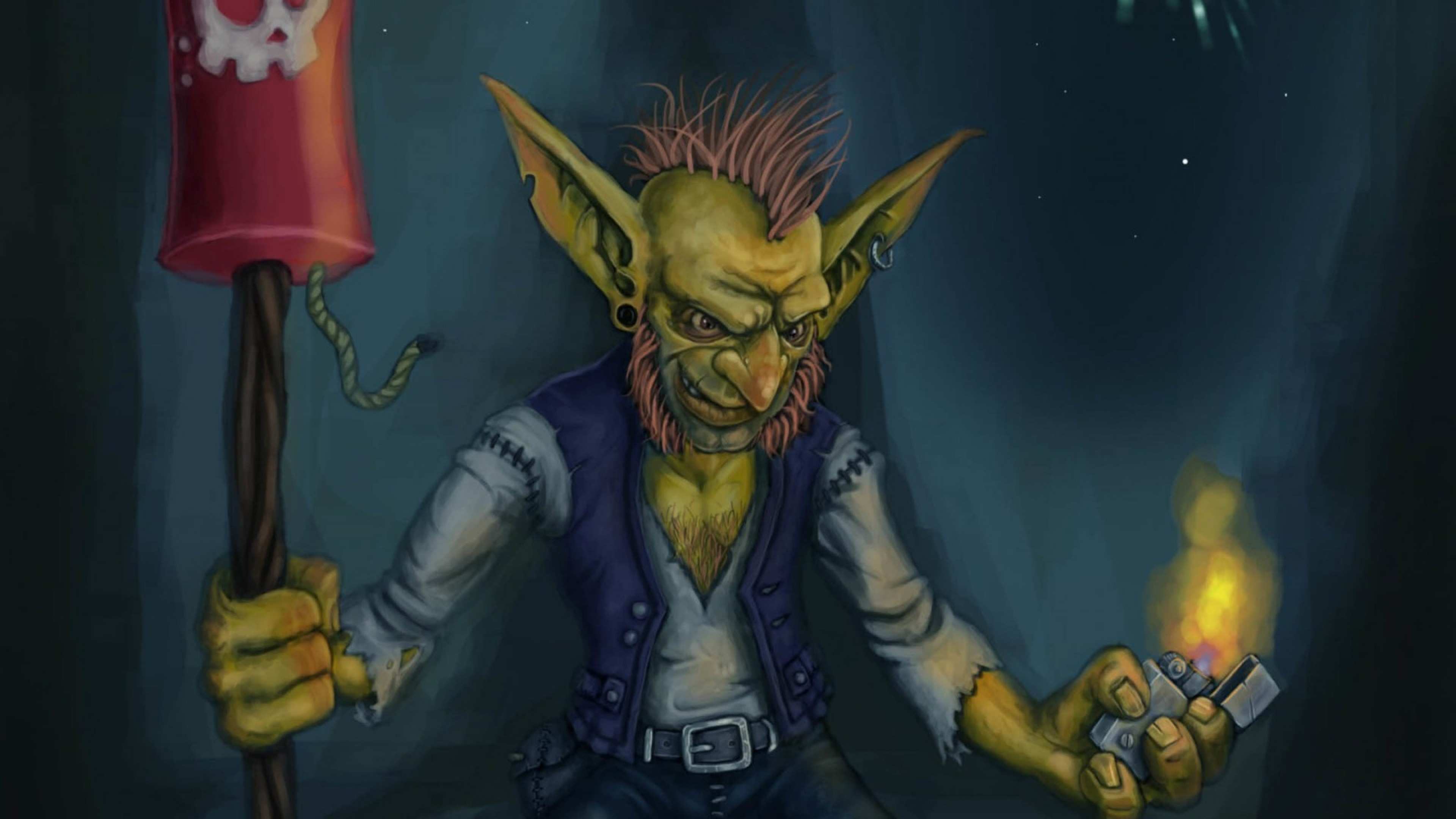 Preview wallpaper world of warcraft, gnome, goblin, rocket, art 3840×2160