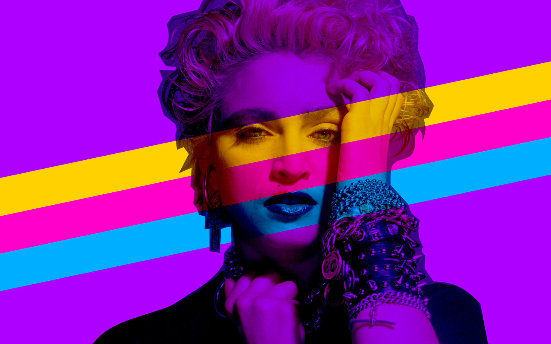 A very retro '80s design featuring a young Madonna.