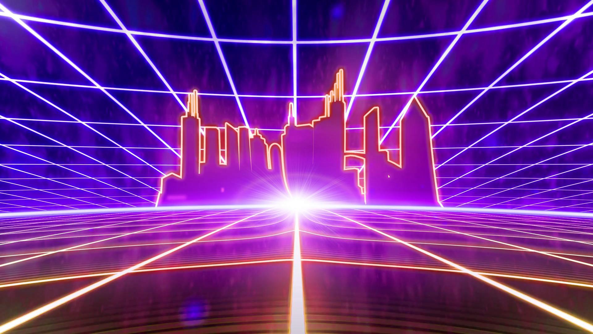 Retro 80s VHS tape video game intro landscape vector arcade wireframe city  4k Stock Video Footage – VideoBlocks