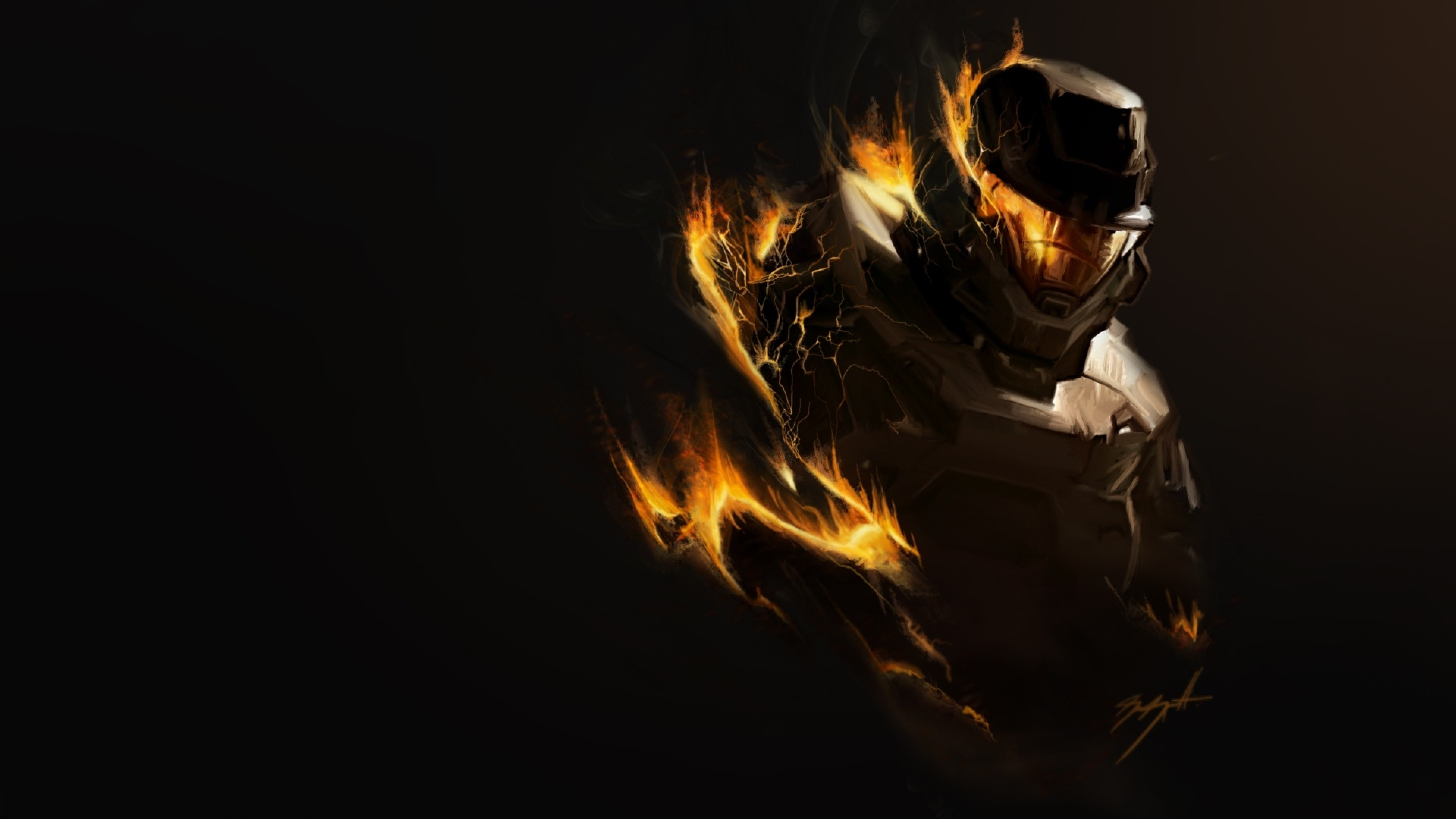 Preview wallpaper halo, fire, soldier, armor 3840×2160