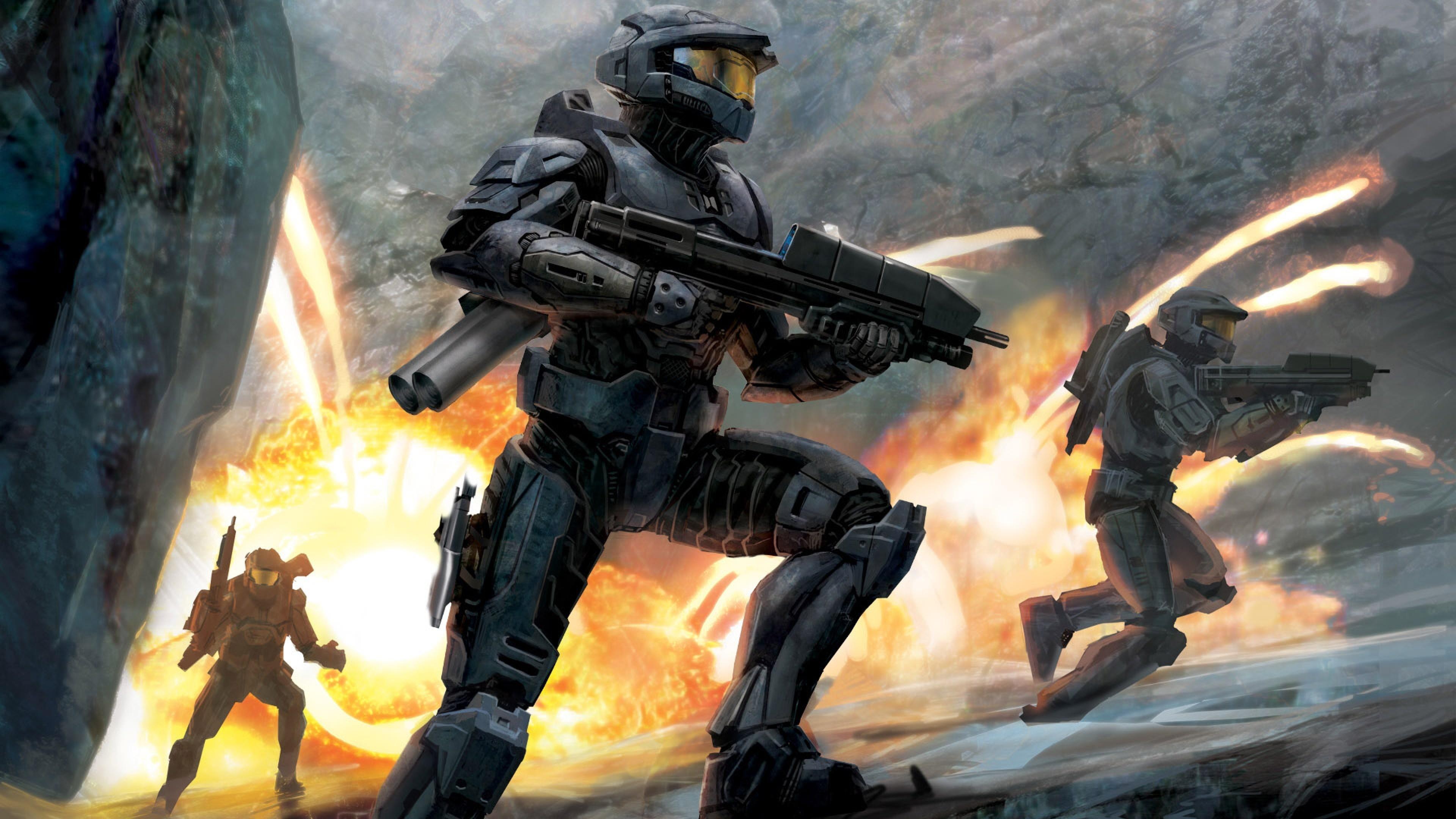 Wallpaper halo, soldiers, fire, gun