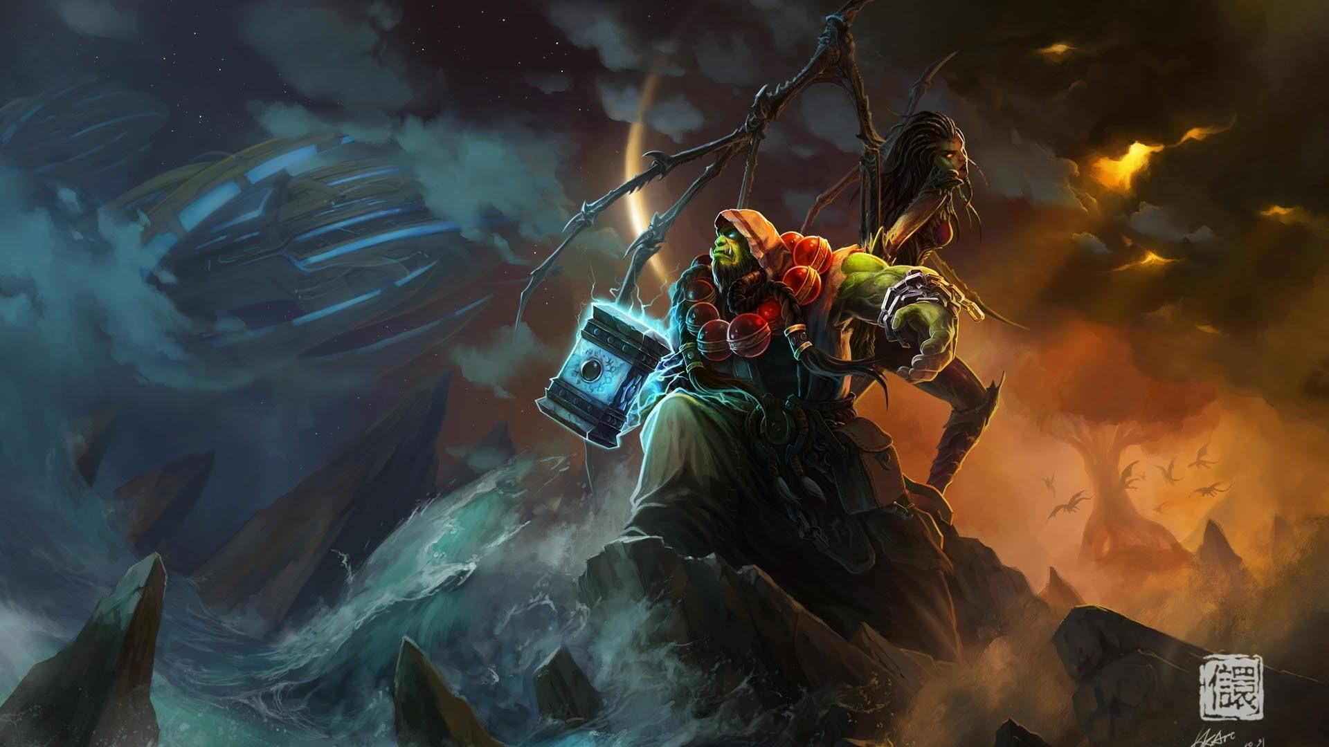 World of Warcraft Ocean Shaman Wallpaper – 1920 x Really nice World of  Warcraft wallpaper featuring a couple of characters readying themselves for  battle.