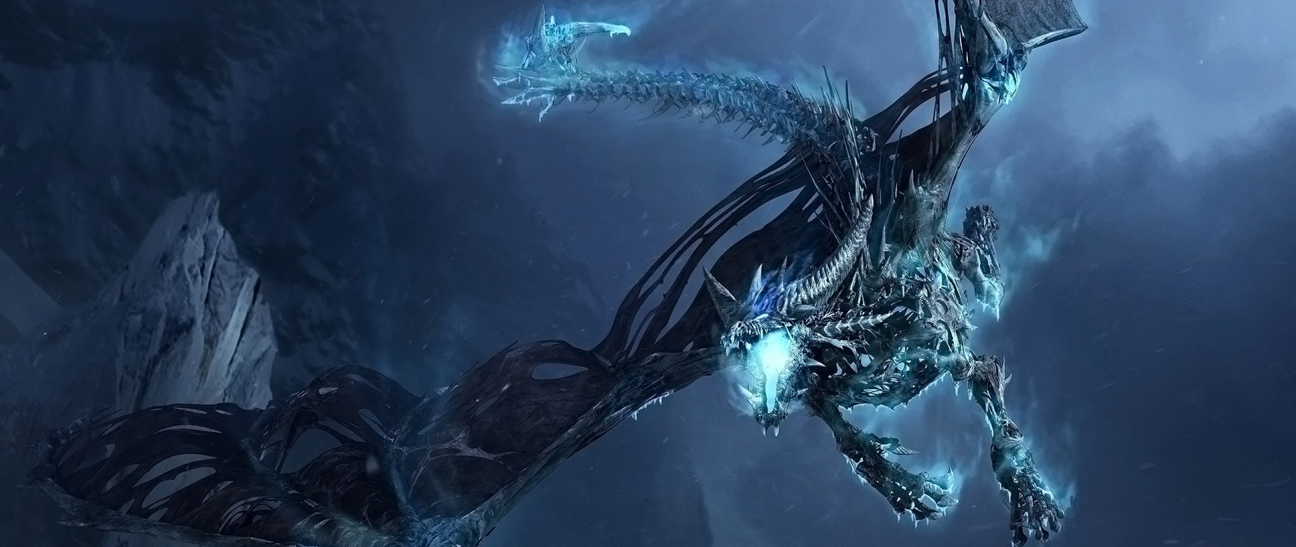 Preview wallpaper world of warcraft, dragon, cold, fly, tail, wings  2560×1080