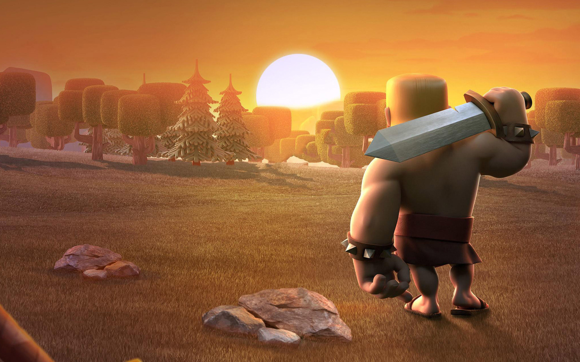 Clash of Clans Sunset Barbarian Wallpaper