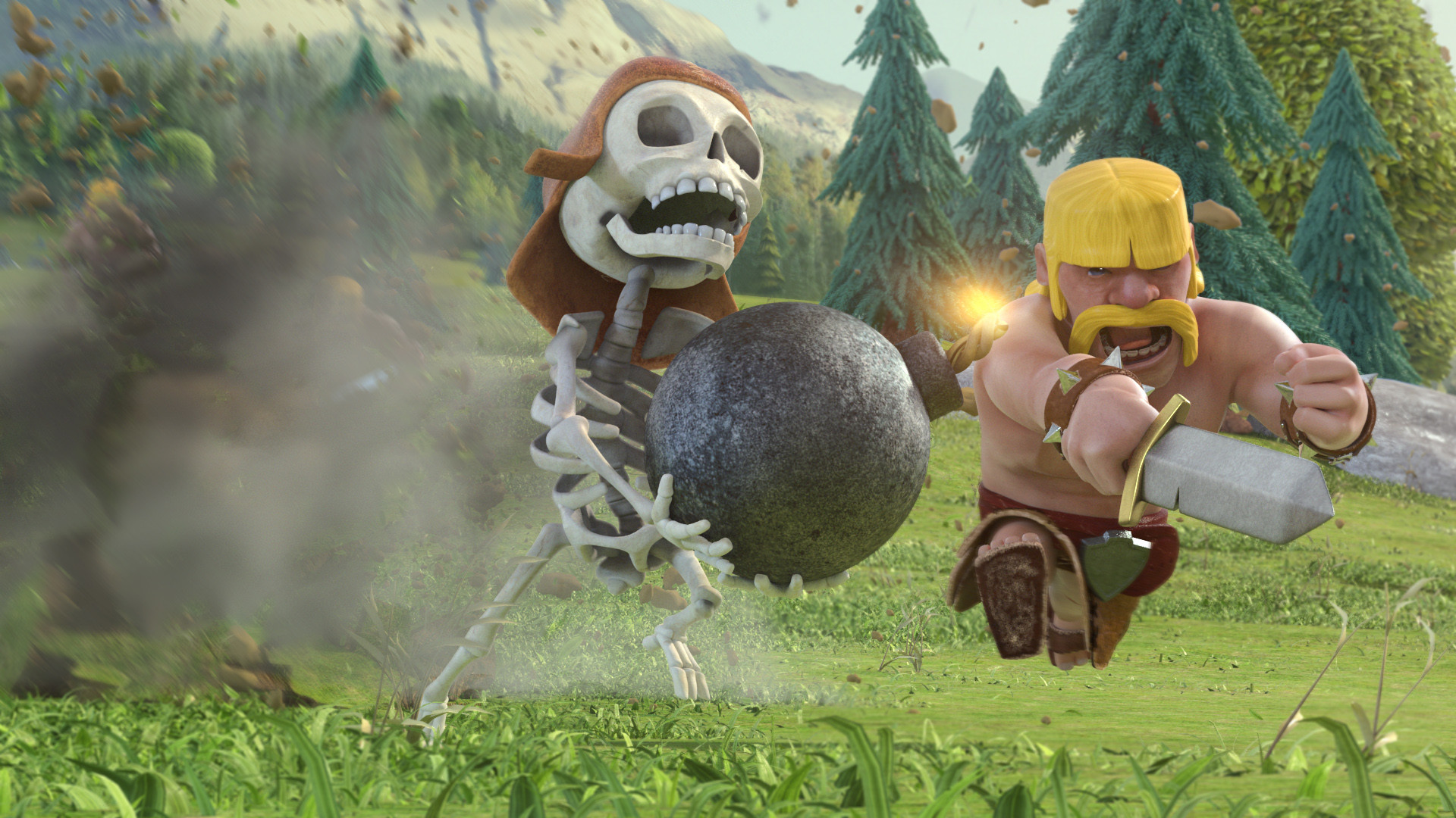 Clash of Clans – Barbarian and skeleton wallpaper