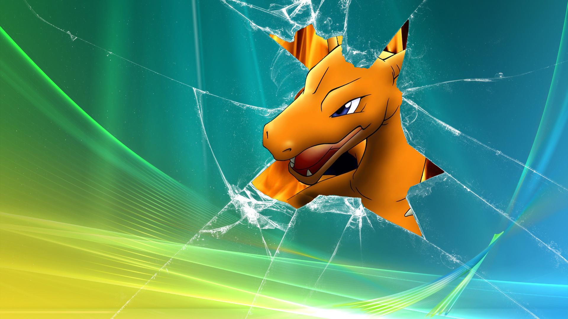 Pokemon, broken screen, Windows Vista, Charizard – Free Wallpaper /  WallpaperJam.com