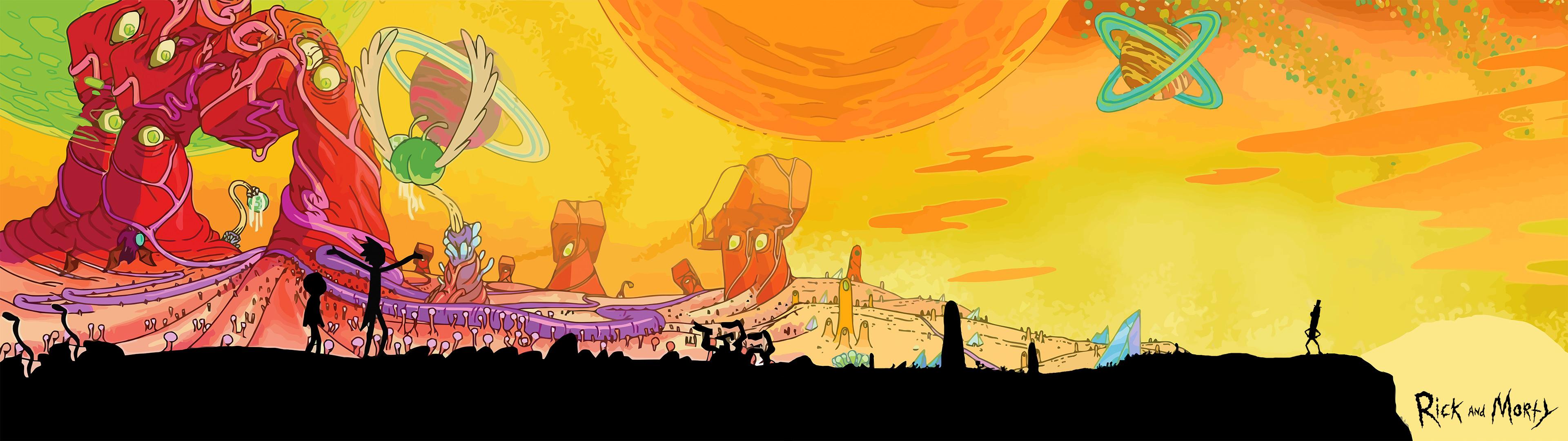 [3840×1080]Rick and Morty Dual Screen wallpaper
