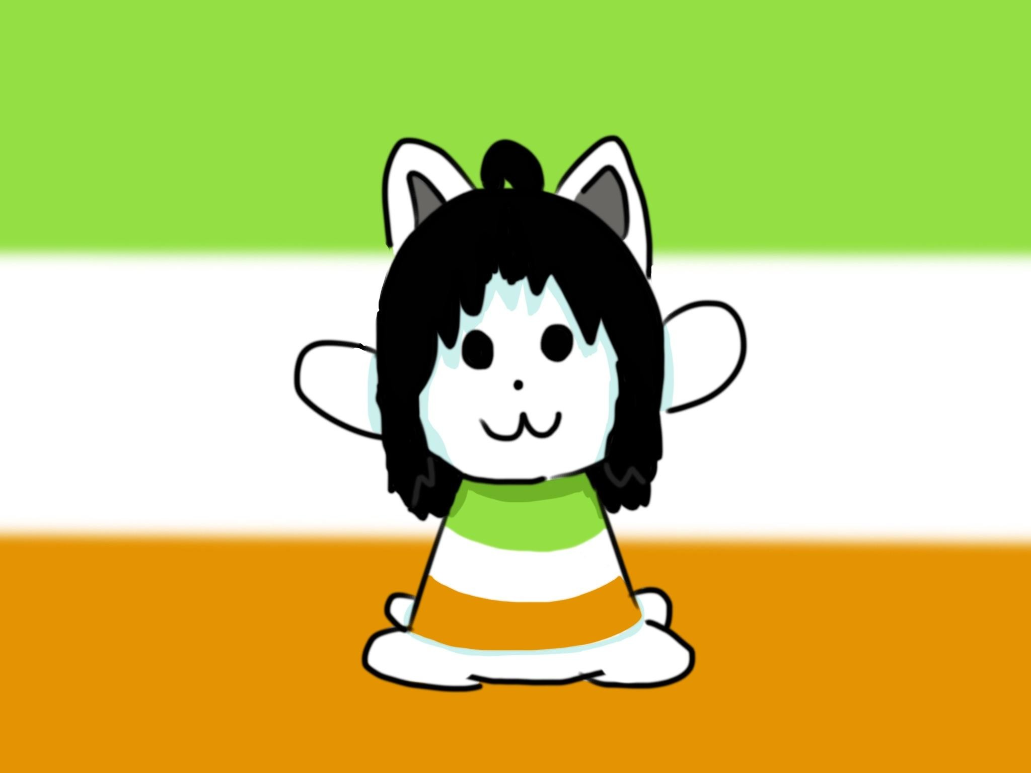 Drew Ireland Temmie in celebration of the alliance of /r/Ireland and /r/ Undertale on /r/Place!