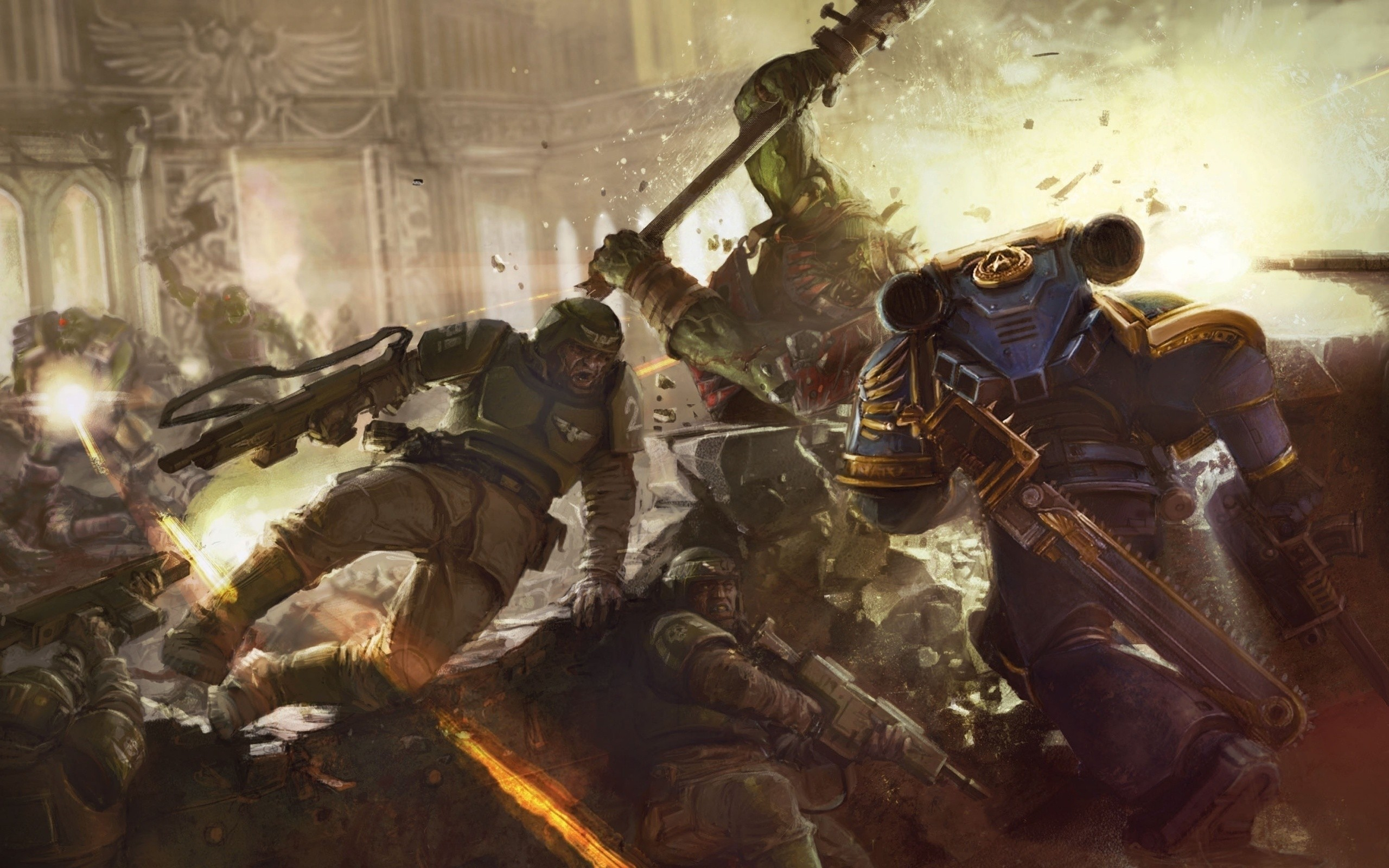 Space Marines And Imperial Guard Vs Orks wallpaper