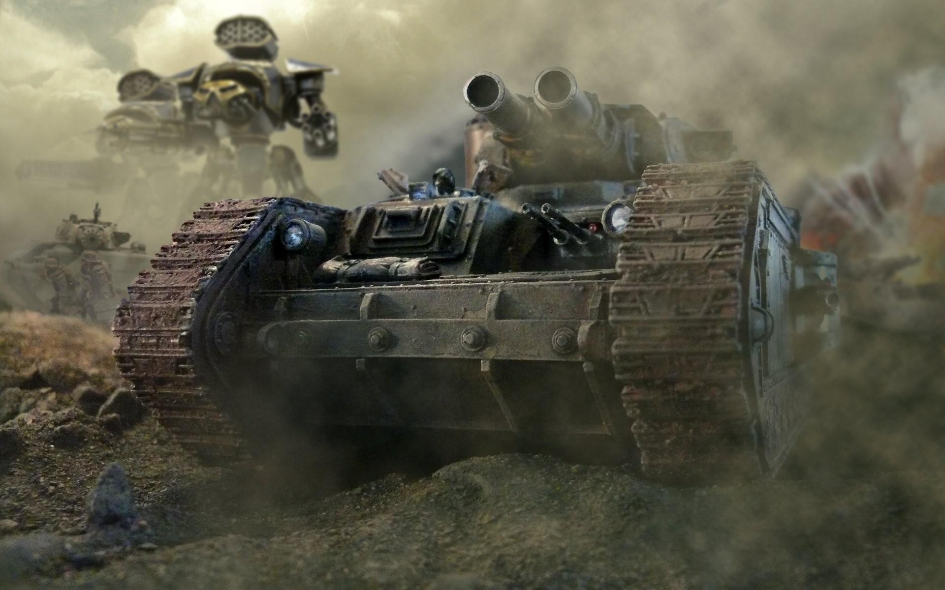 warhammer 40k tank leman russ trunks machine guns head armour imperial guard  smoke imperial titanium