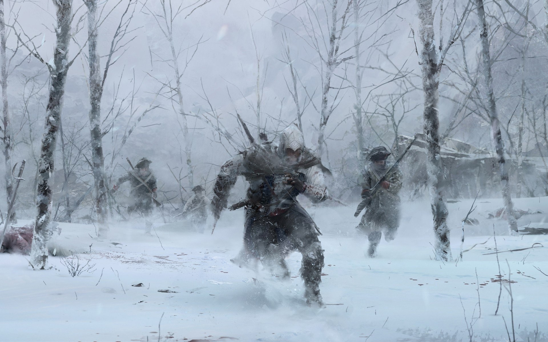 Artwork Assassins Creed 3 Drawings Forests Guard Killer Snow Video Games  Winter …