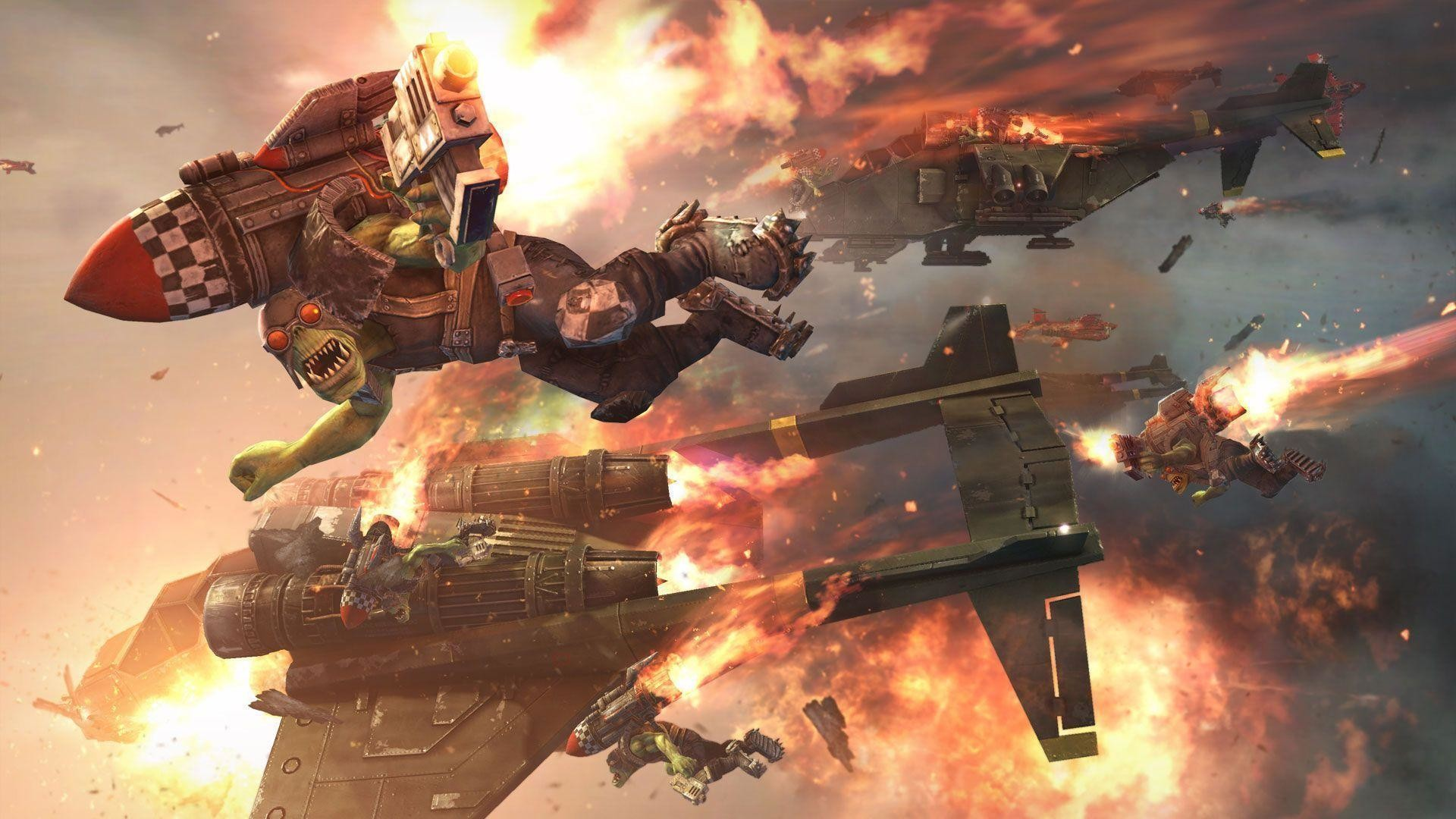 Space Marines And Imperial Guard Vs <b>Orks wallpaper</b> |