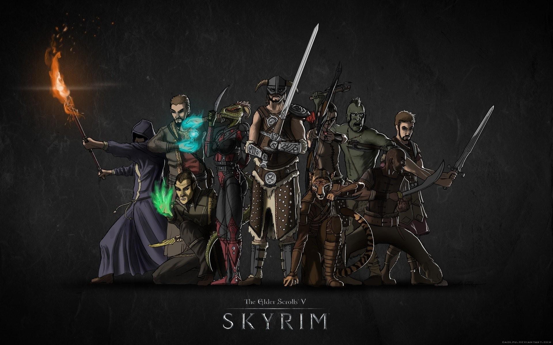 the elder scrolls 5 skyrim skyrim nord khajiit an imperial wood elf high  elf ork breton