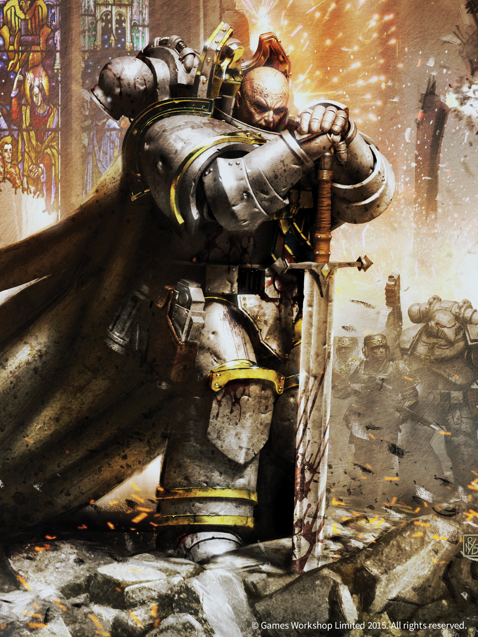 … architecture captain death_guard horus_heresy imperial_guard imperium  nathaniel_garro neil_roberts space_marines sword_two-handed wallpaper //  1536×2048