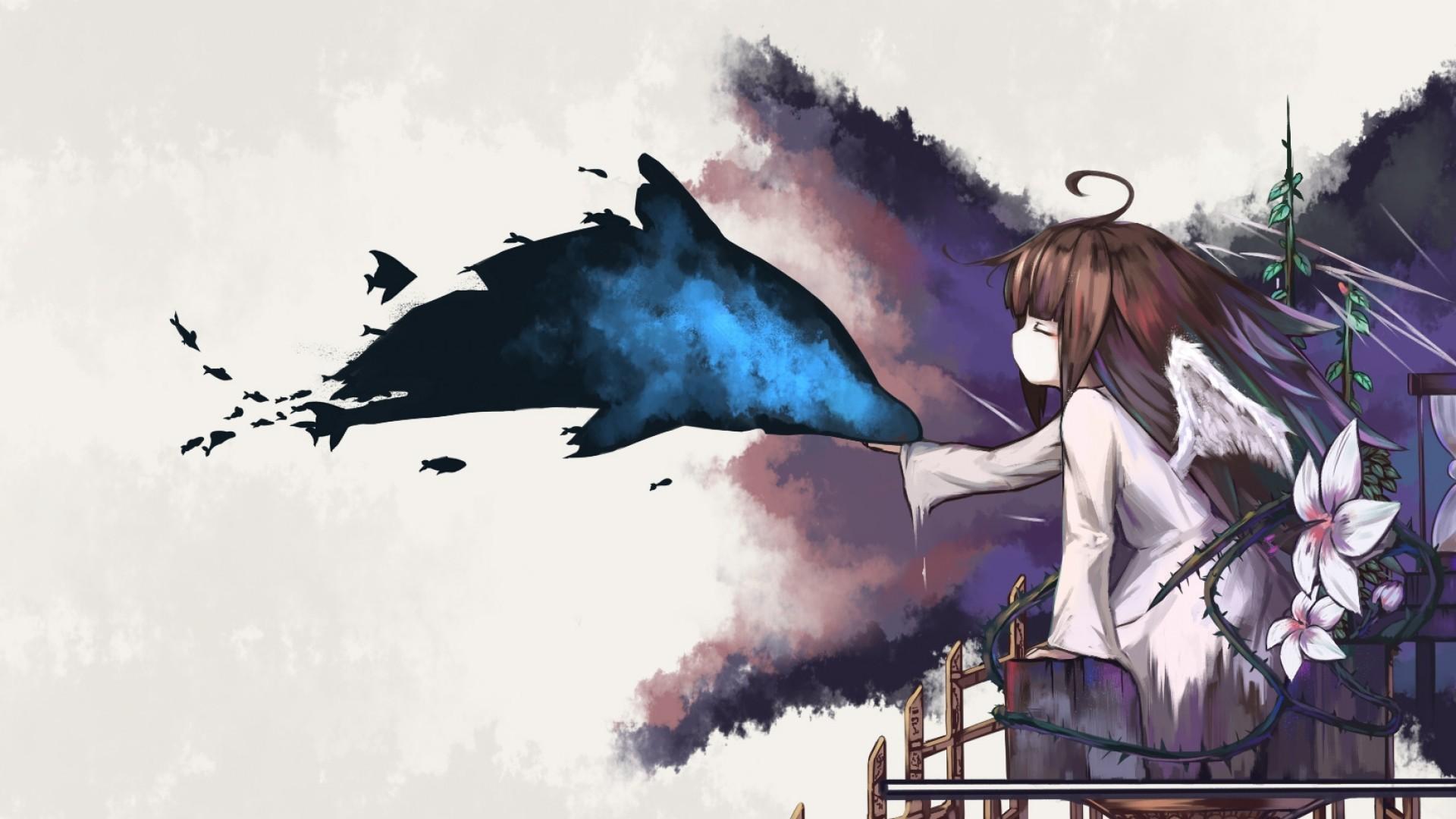 Deemo, Wings, Artistic, Anime Girl, Anime Style
