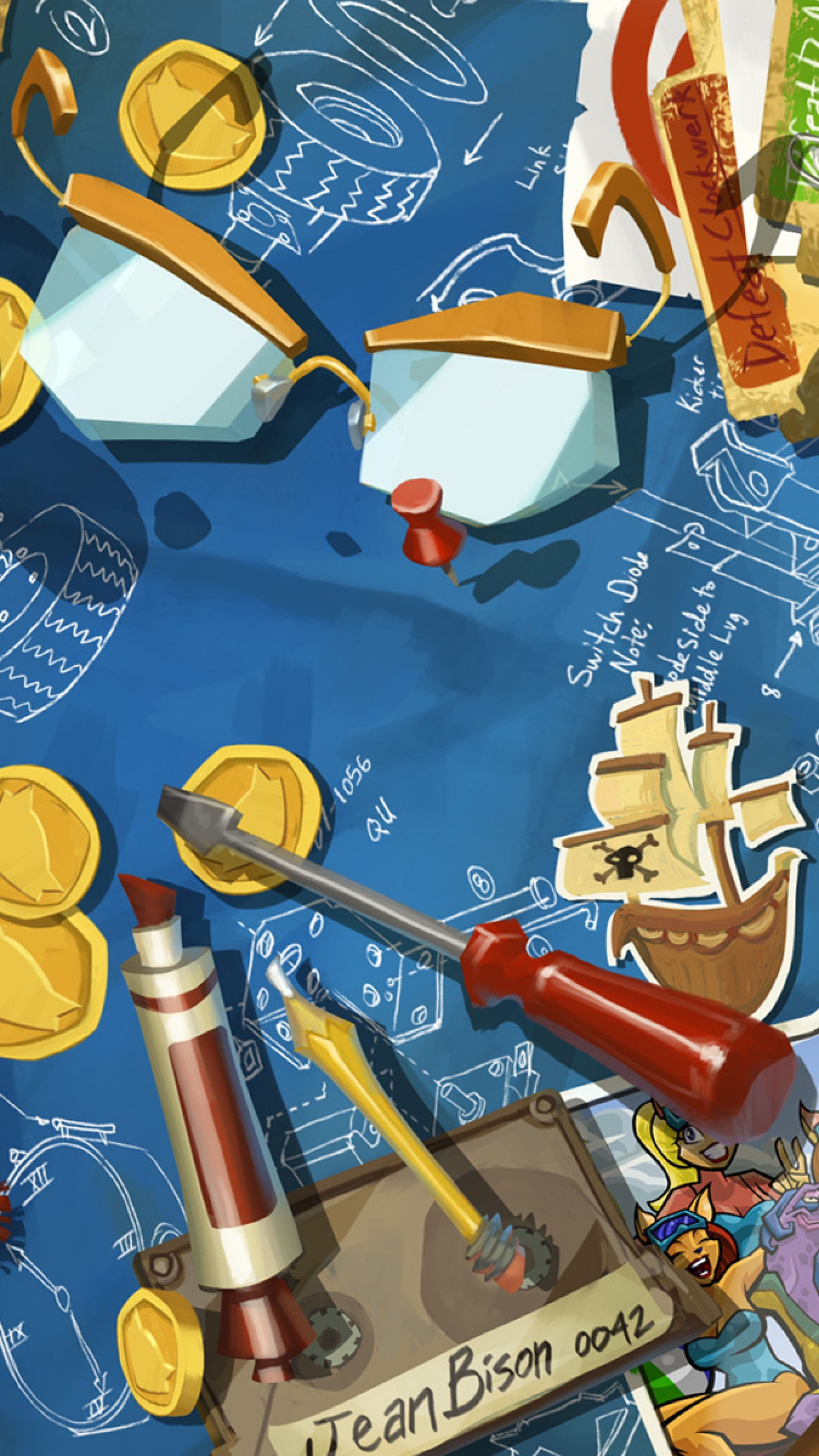 Wallpaper sly cooper, thieves in time, wrench, screwdriver, coin