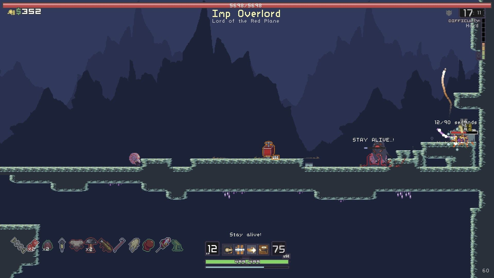Another boss, The Imp Overlord. Lying on the ground is one usable item.