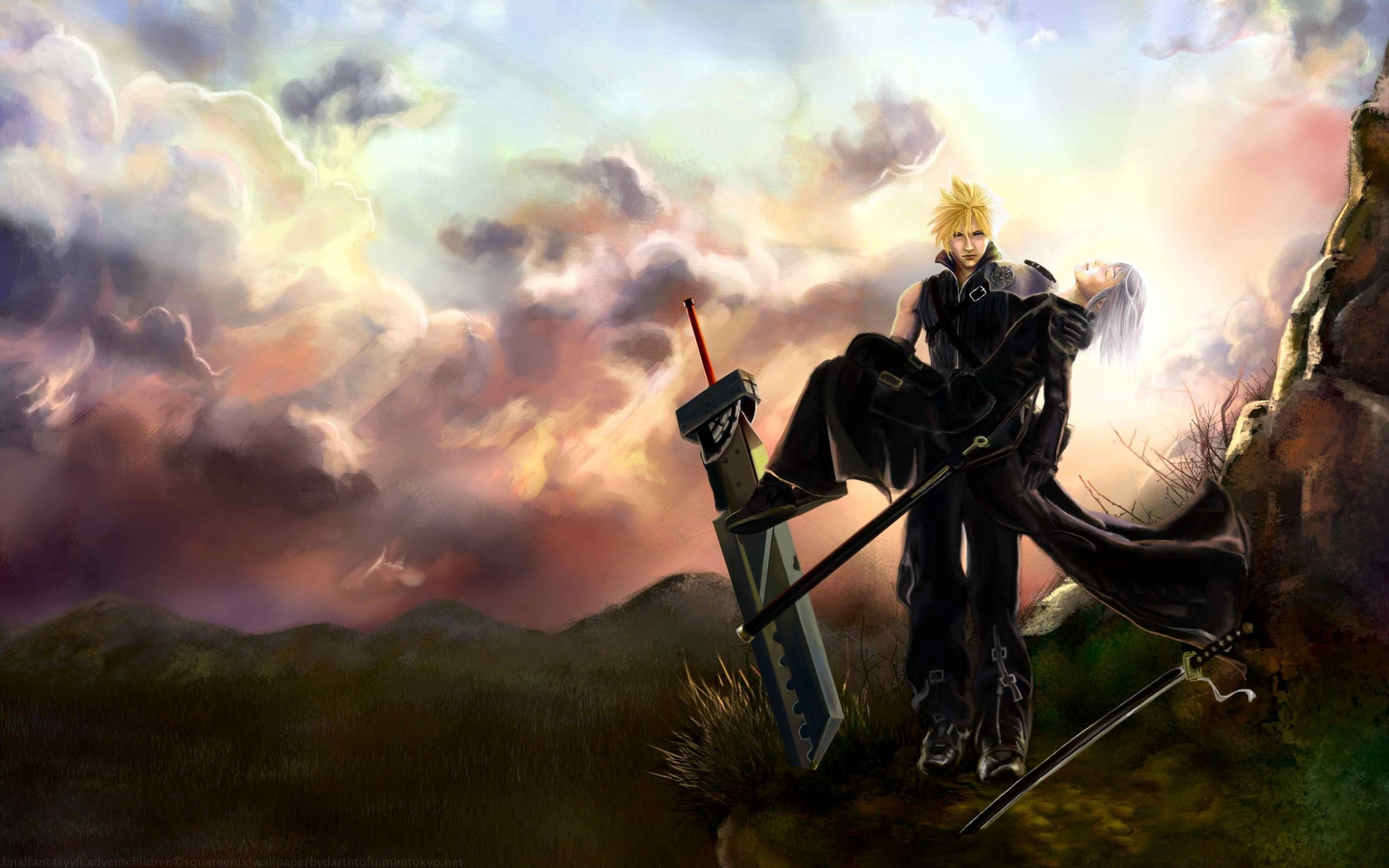 Final fantasy sephiroth cloud strife zack fair kadaj aerith .