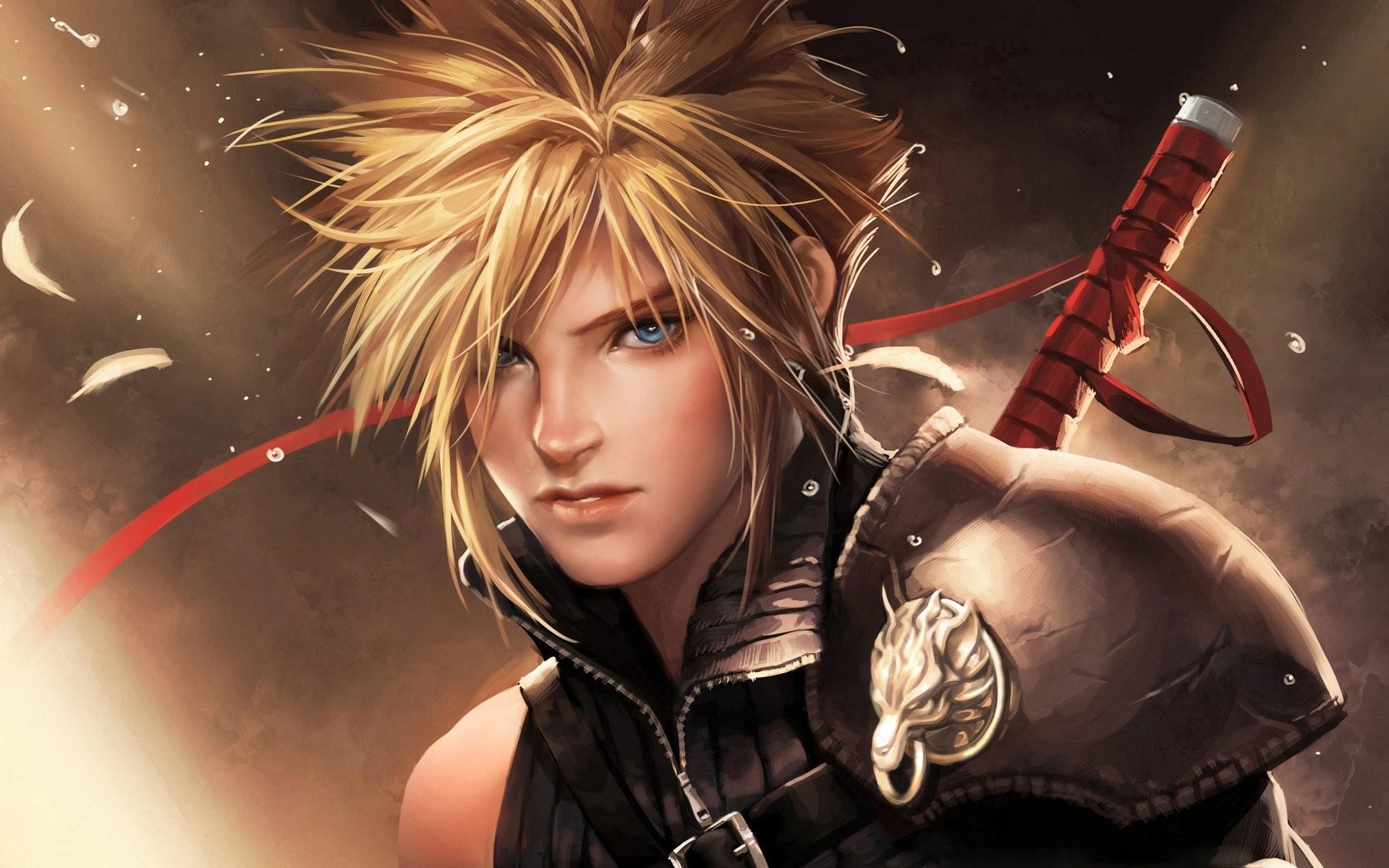 sakimichan final fantasy advent children cloud strife short hair blue eyes  blonde hair blush men weapon