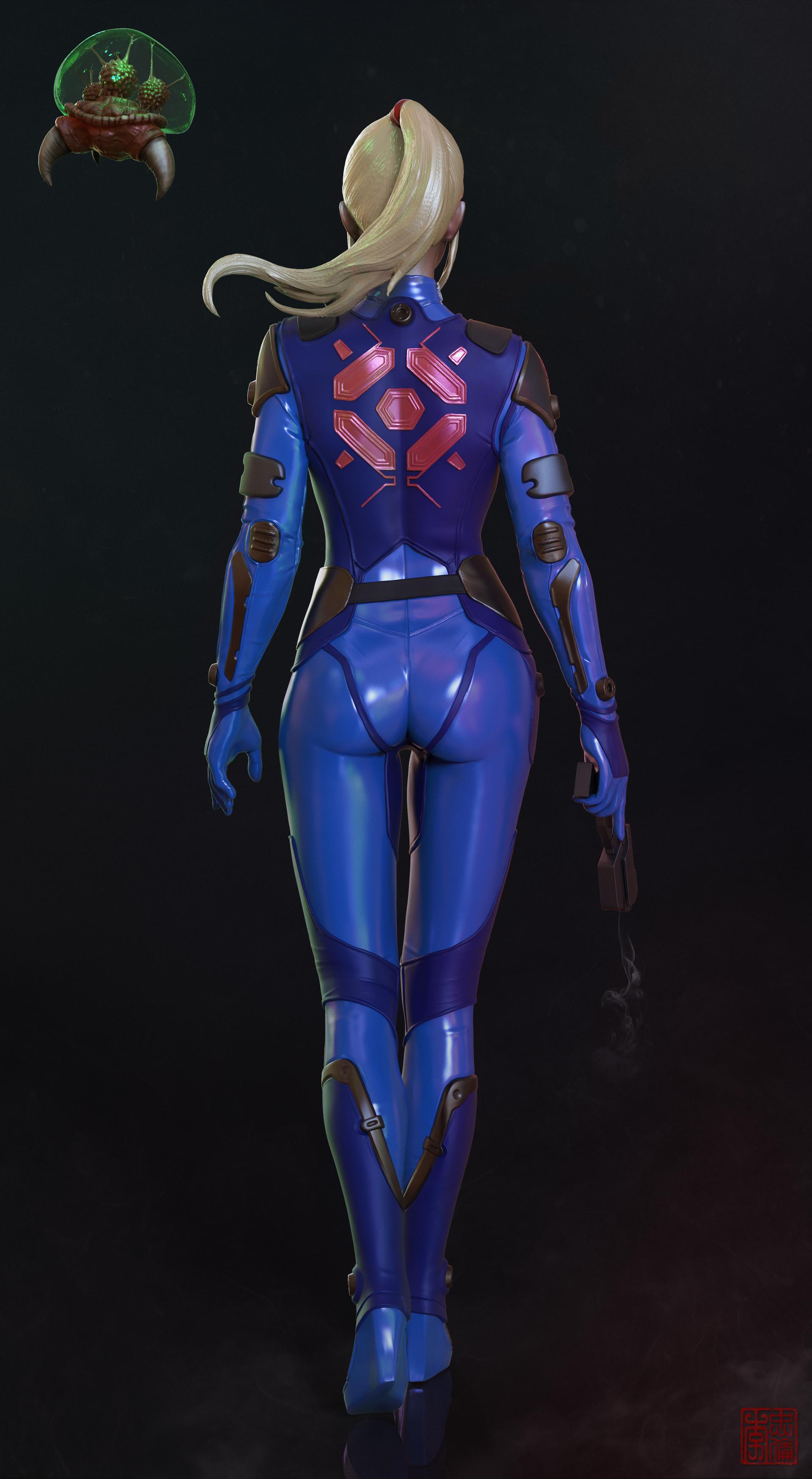 Closeup. Metroid. Zero suit Zbrush sculpt