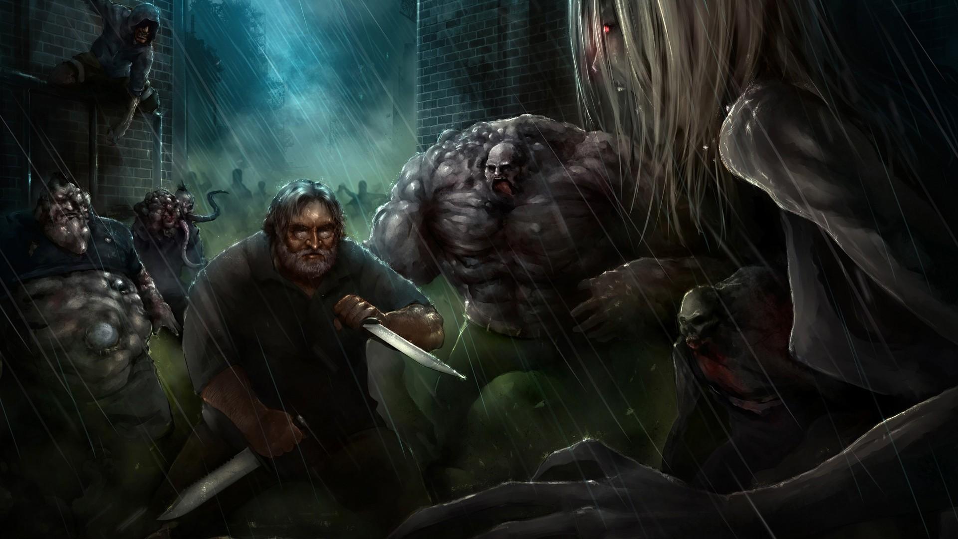 Left 4 Dead L4D Rain Drawing Gabe Newell Knife Zombie HD wallpaper thumb