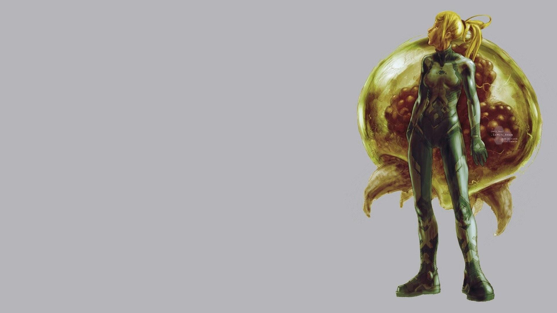 Video Games Metroid Samus Aran Gray Background Women Blondes Long Hair  Ponytails Bodysuits Aliens Nintendo Zero Suit …