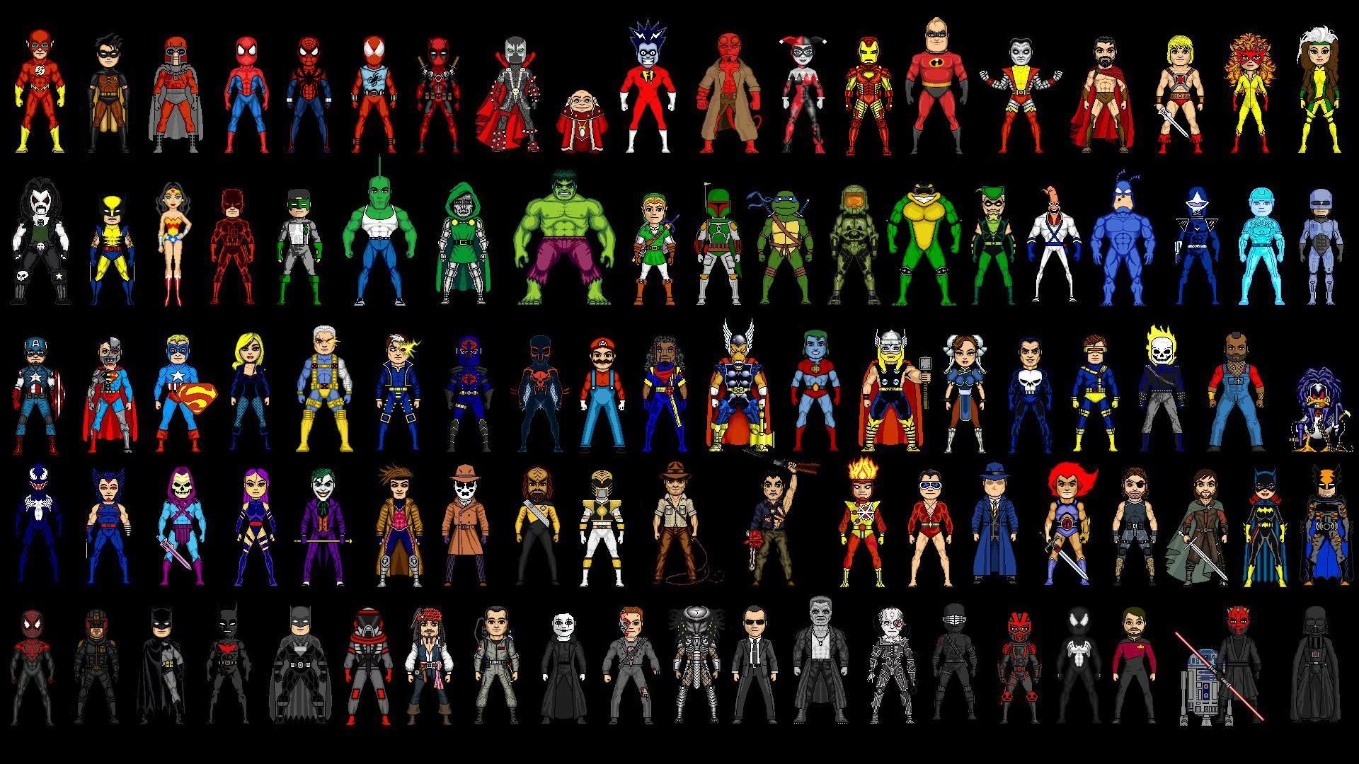 Microheroes (90+ TV/movie/comic/cartoon/video game characters) [1920×1080]  …