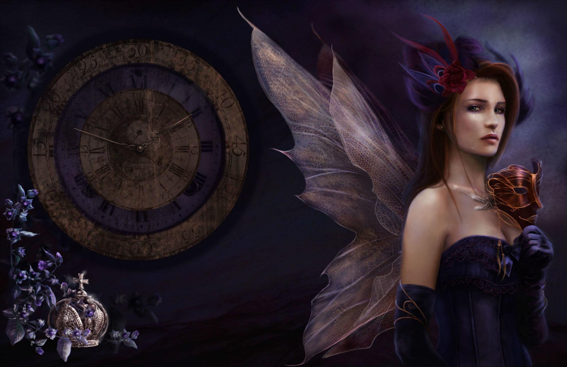 fantasy gothic fairy time women art wallpaper background