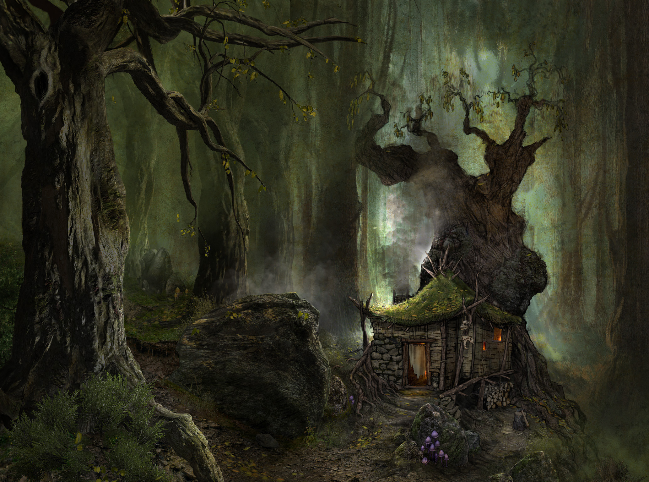 Gothic Fantasy Art | ArcaniA Gothic 4 fantasy art landscapes forest trees  wods paintings .