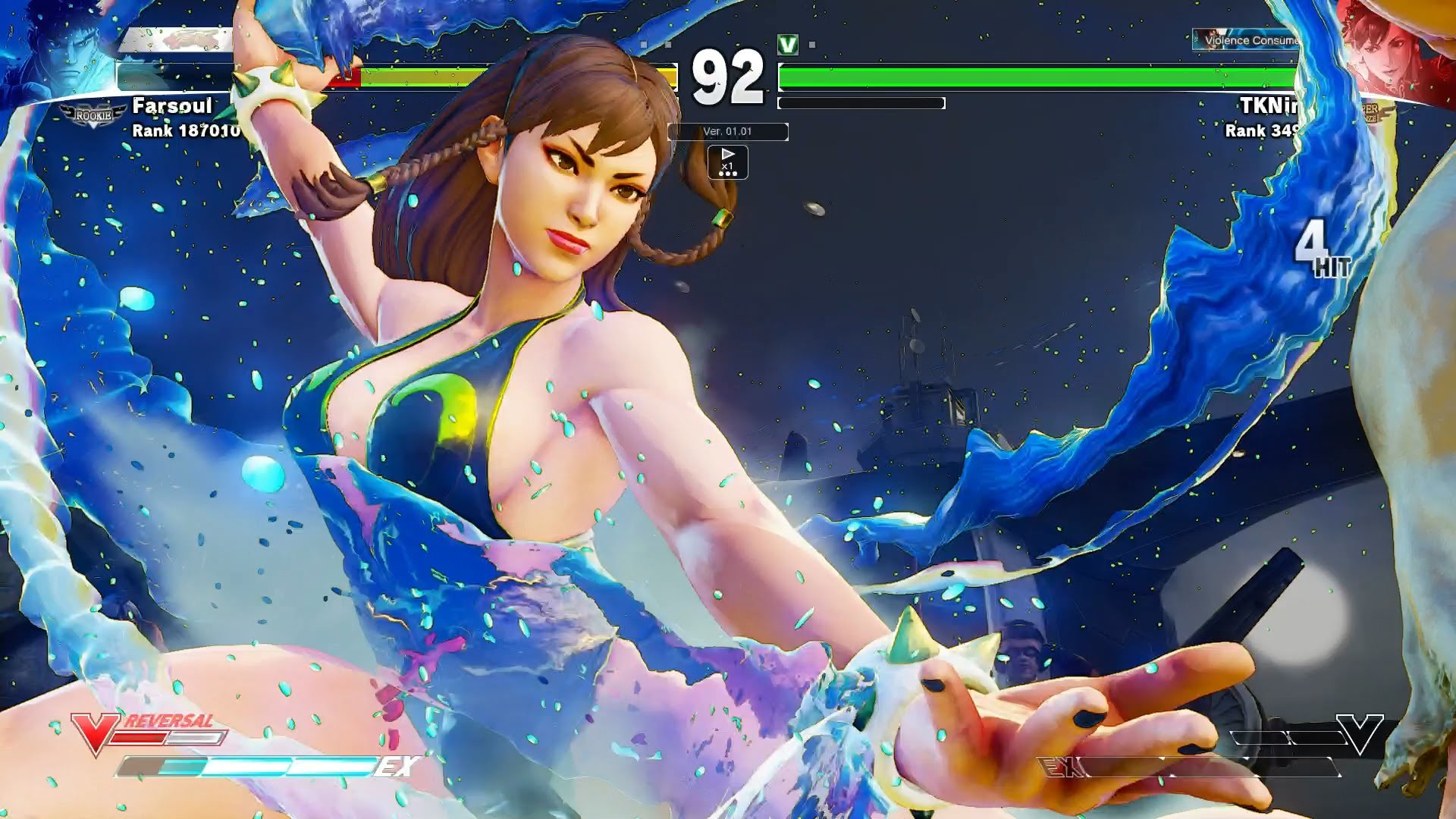[PS4] Street Fighter 5: Ryu (Farsoul) vs Sexy Chun-Li (TKNinja)【HD 】