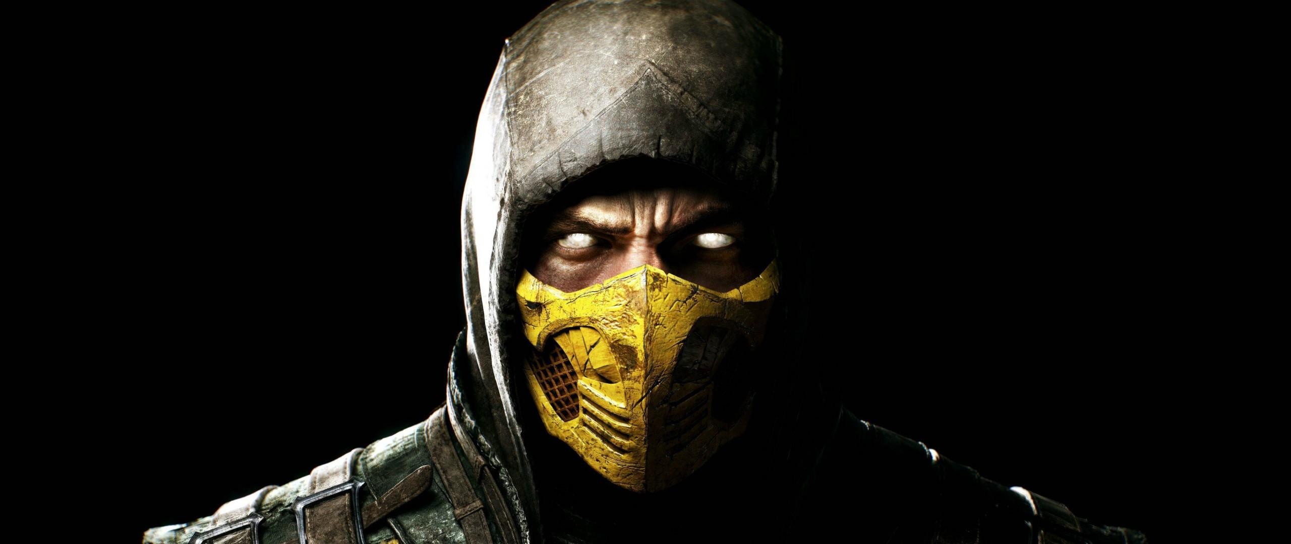 Preview wallpaper mortal kombat x, scorpio, ninja, mask 2560×1080