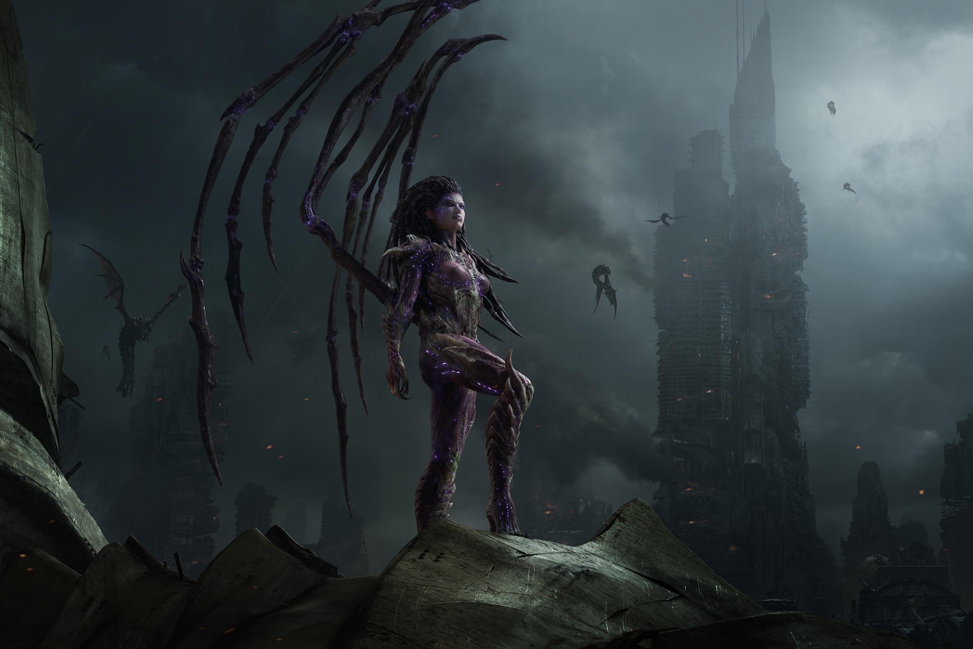 video games swarm Sarah Kerrigan Queen Of Blades StarCraft II Starcraft II:  Heart of the Swarm Starcraft 2 / Wallpaper