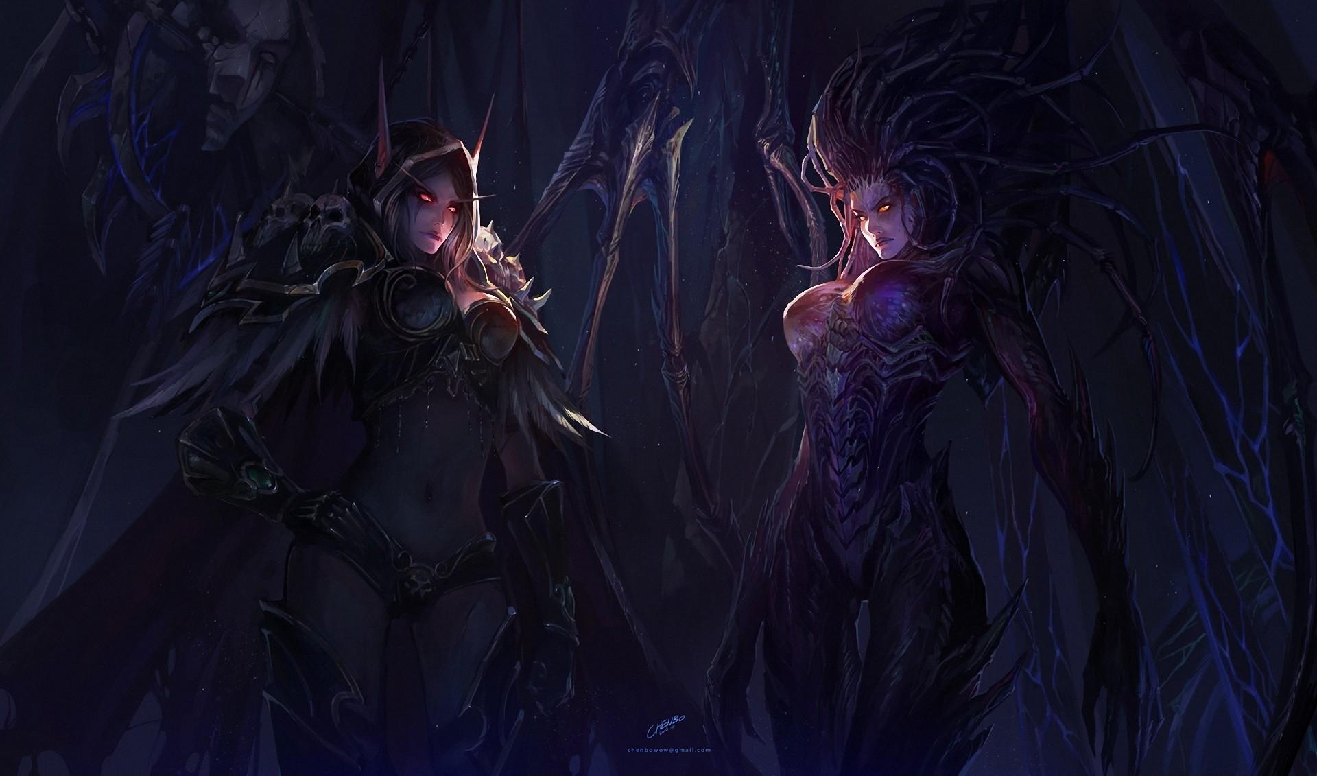 Girls World of Warcraft StarCraft chenbo Sarah Kerrigan Art Sylvanas  Windrunner dark demons fantasy women females