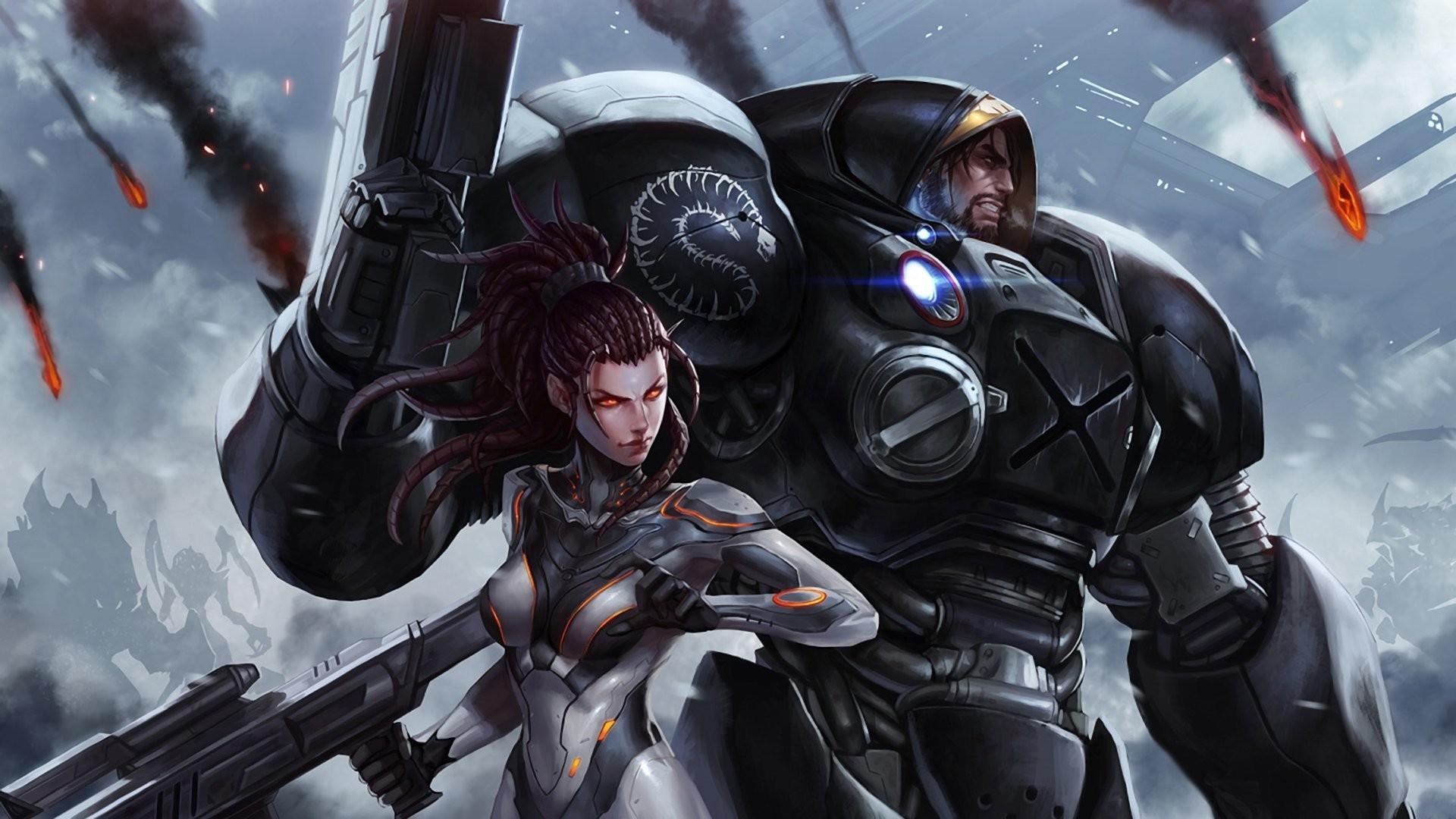 starcraft sarah kerrigan jim raynor landing weapon armour smoke fire  silhouettes