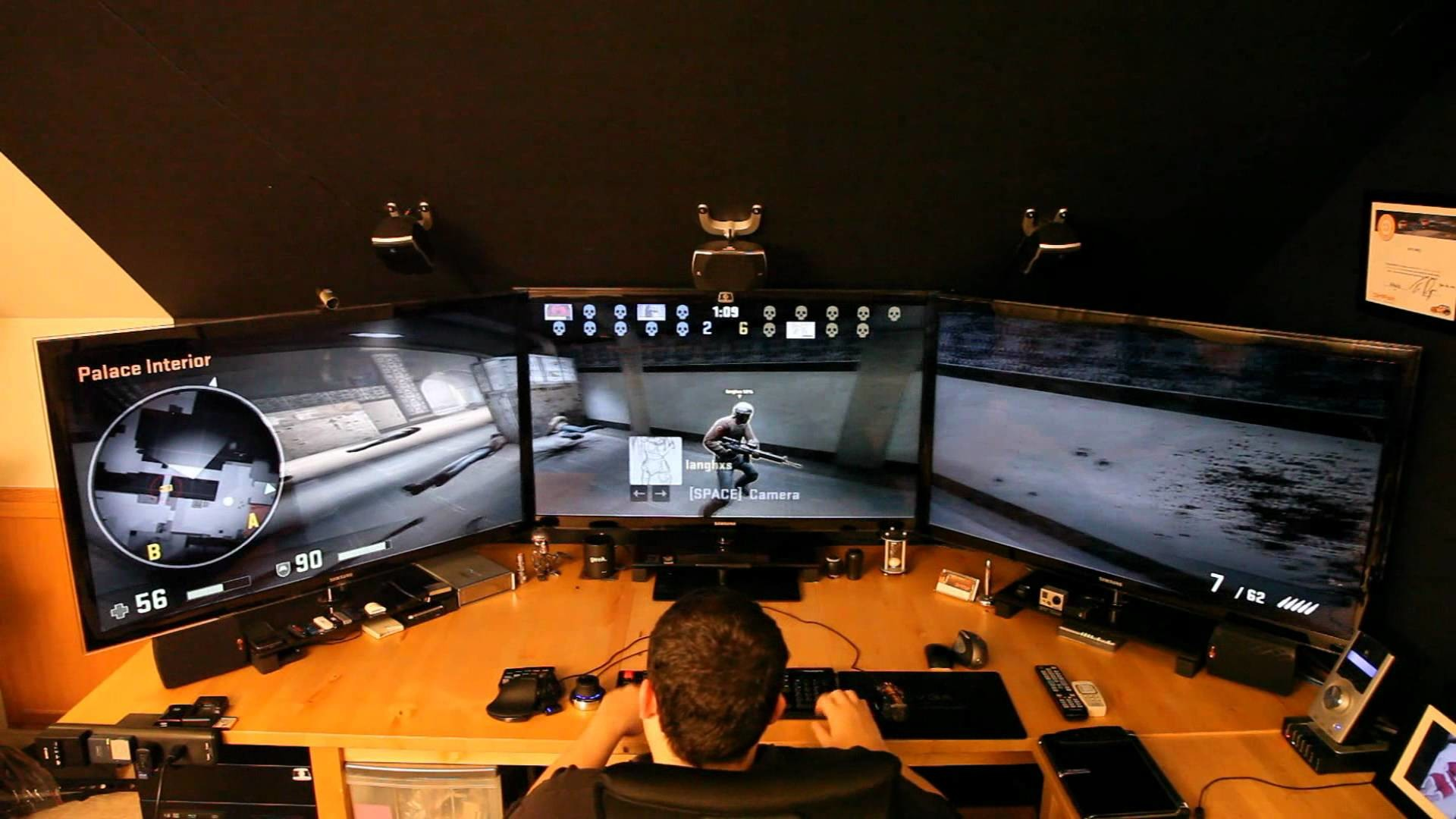 Playing Counter Strike Global Offensive Online in nVidia Surround with huge  screens – YouTube
